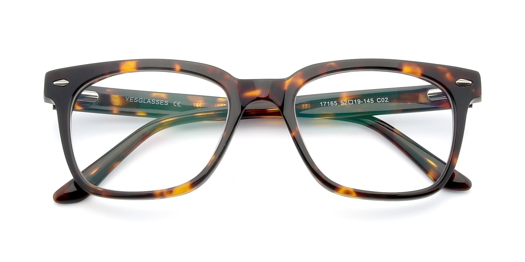 Folded Front of 17165 in Tortoise with Clear Blue Light Blocking Lenses