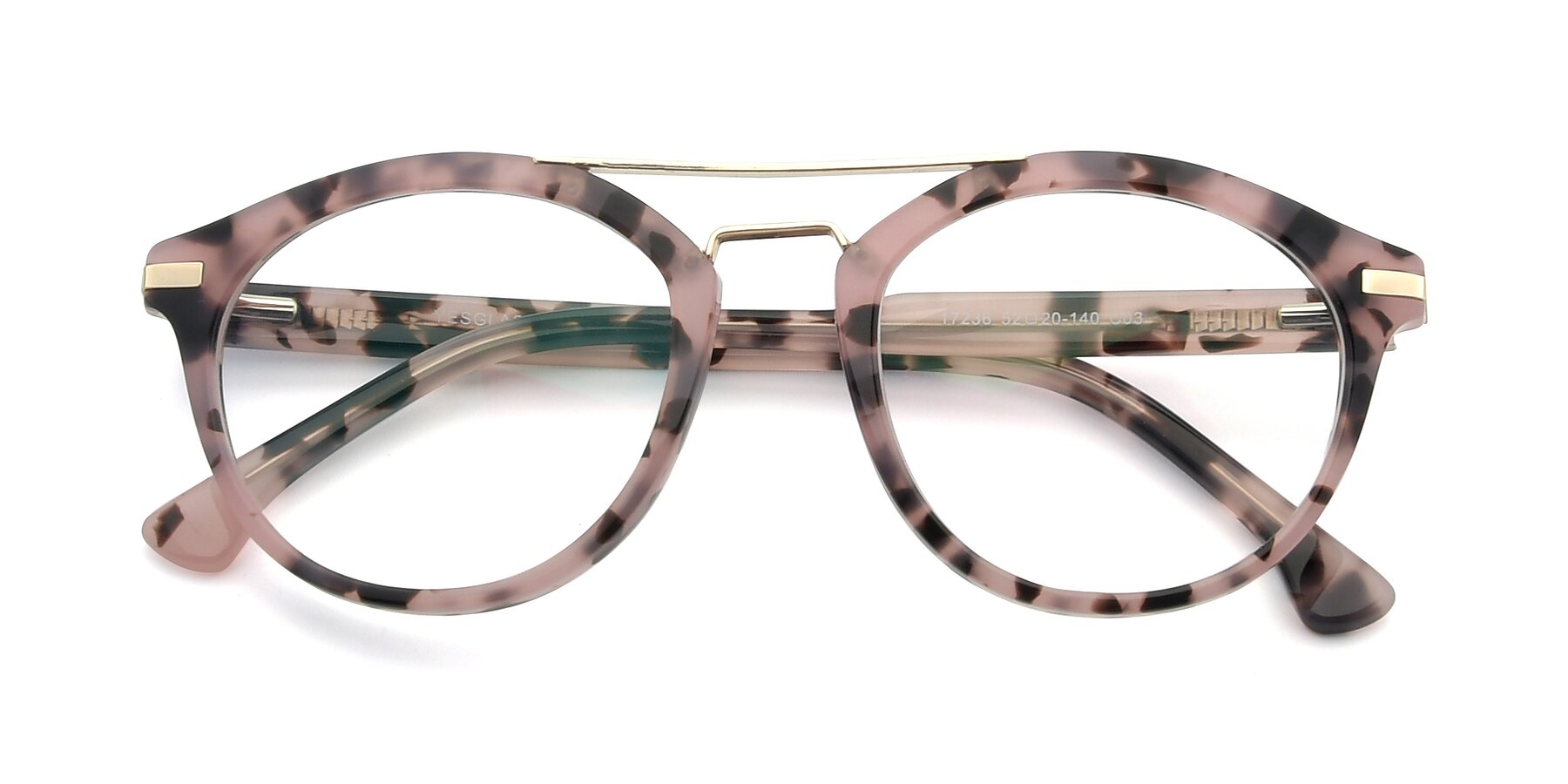 Folded Front of 17236 in Havana Floral-Gold with Clear Eyeglass Lenses