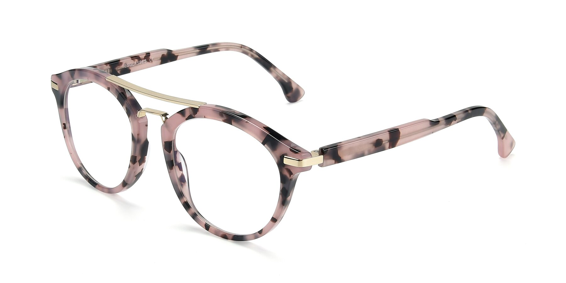 Angle of 17236 in Havana Floral-Gold with Clear Eyeglass Lenses