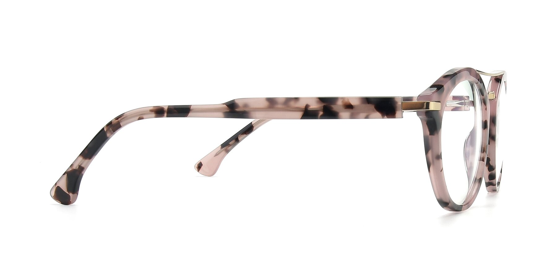 Side of 17236 in Havana Floral-Gold with Clear Eyeglass Lenses