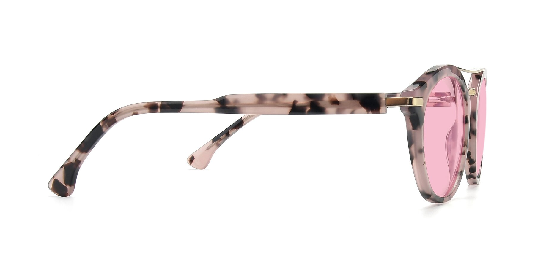 Side of 17236 in Havana Floral-Gold with Medium Pink Tinted Lenses