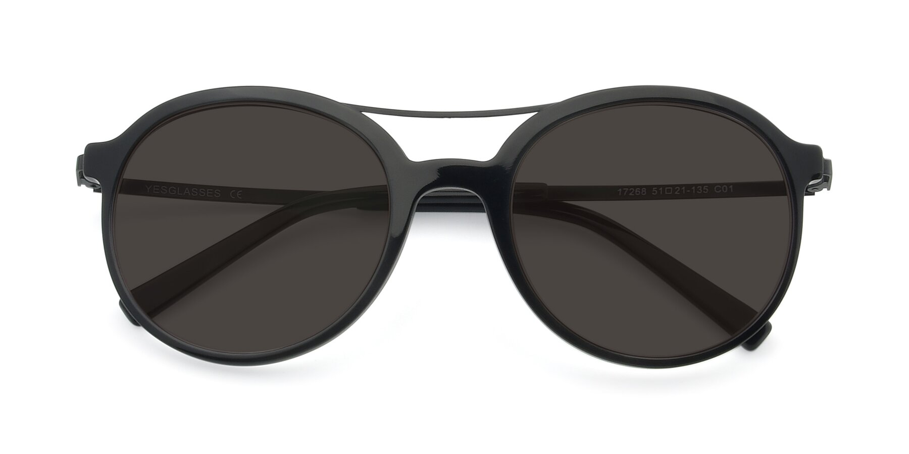 Folded Front of 17268 in Black with Gray Tinted Lenses