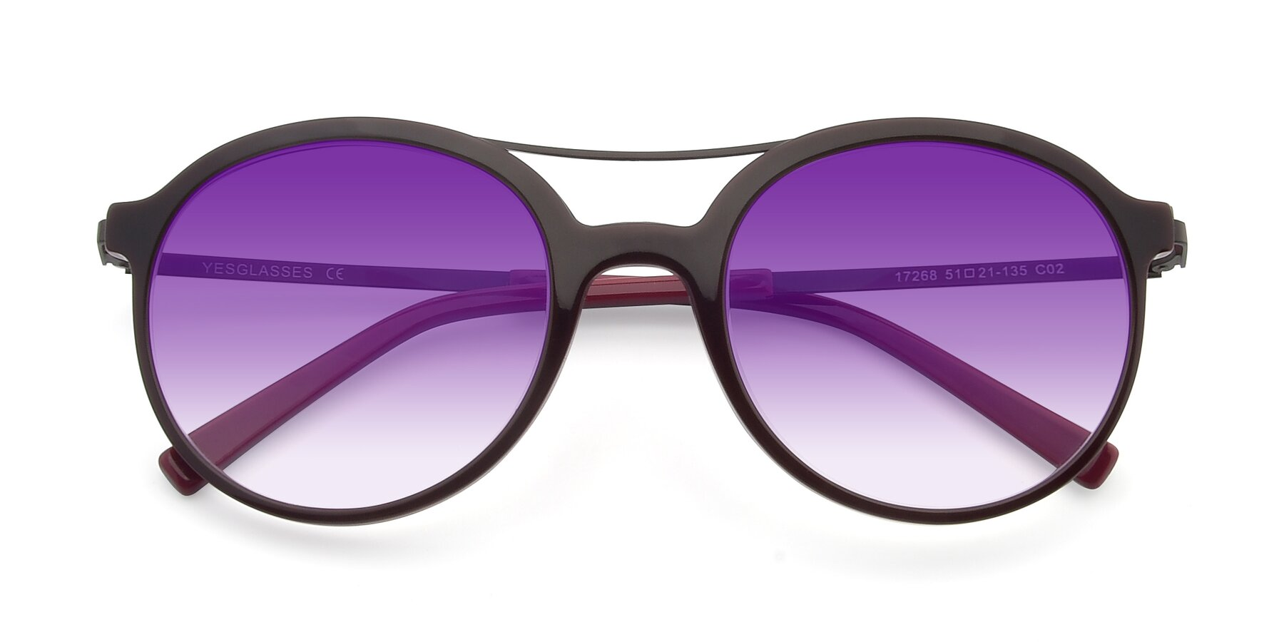Folded Front of 17268 in Wine with Purple Gradient Lenses