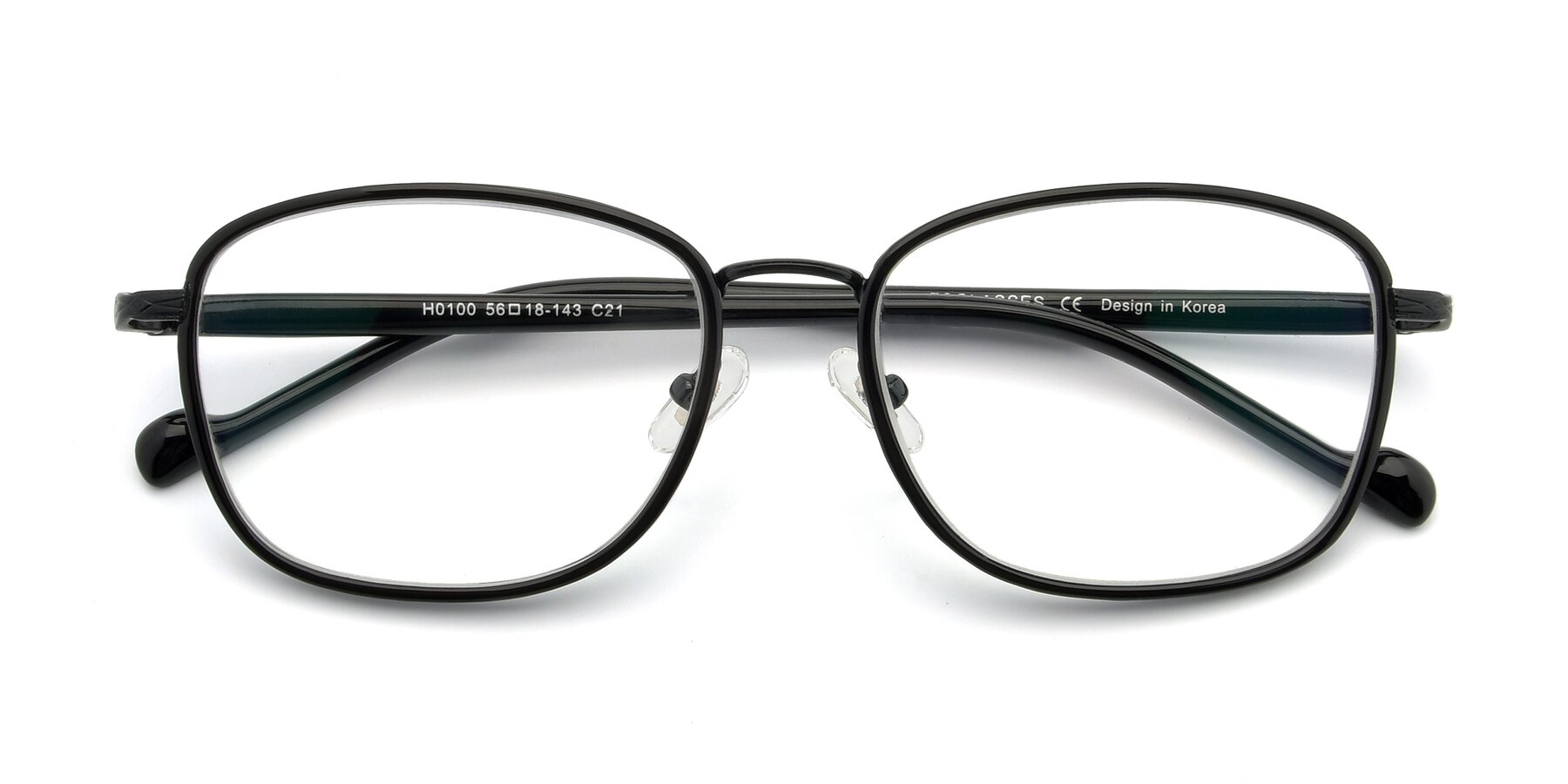 Folded Front of H0100 in Black with Clear Eyeglass Lenses