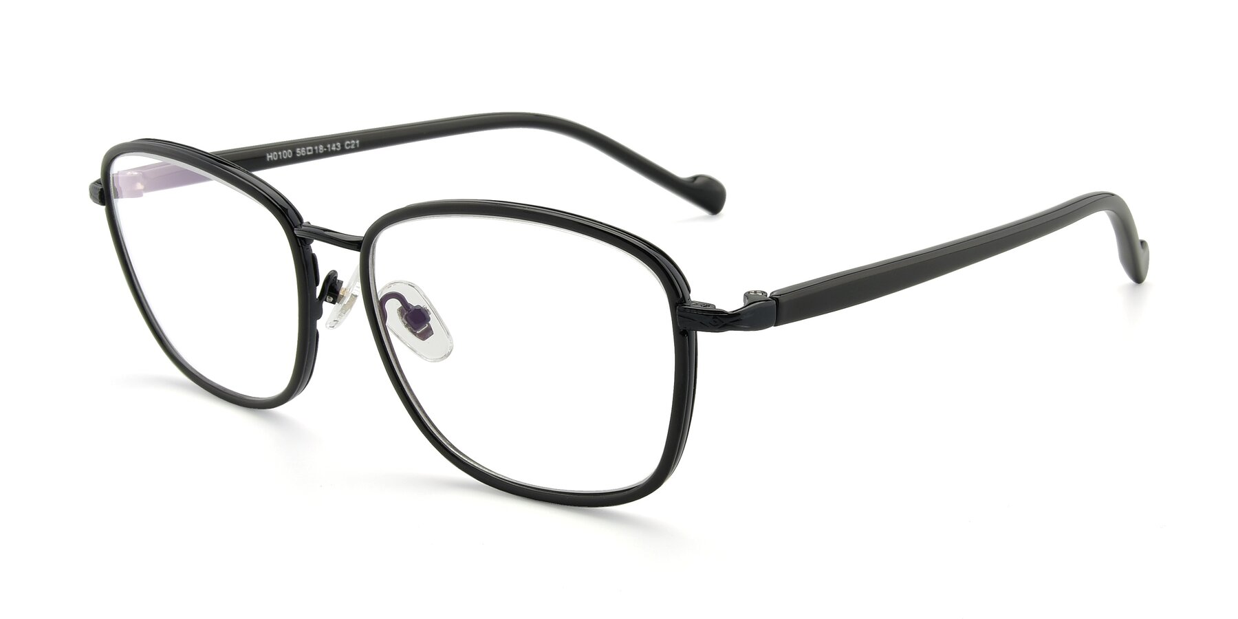 Angle of H0100 in Black with Clear Eyeglass Lenses