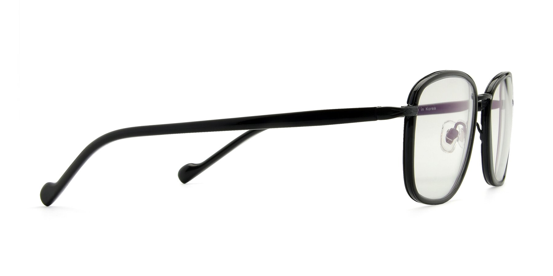 Side of H0100 in Black with Clear Eyeglass Lenses