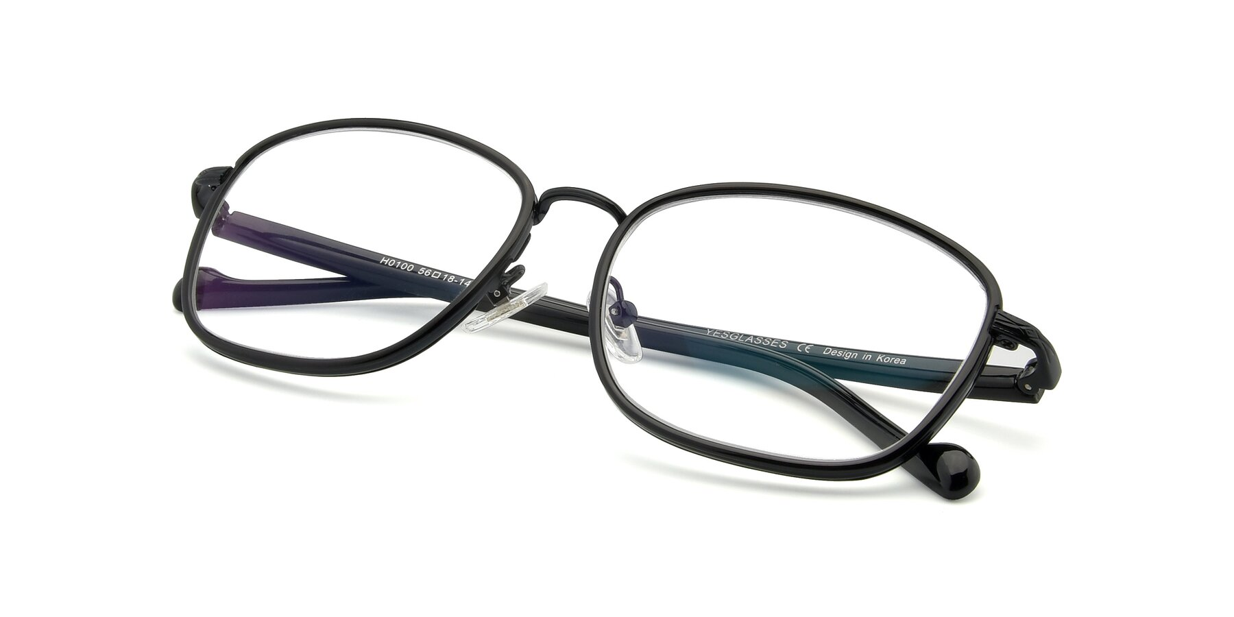 View of H0100 in Black with Clear Eyeglass Lenses