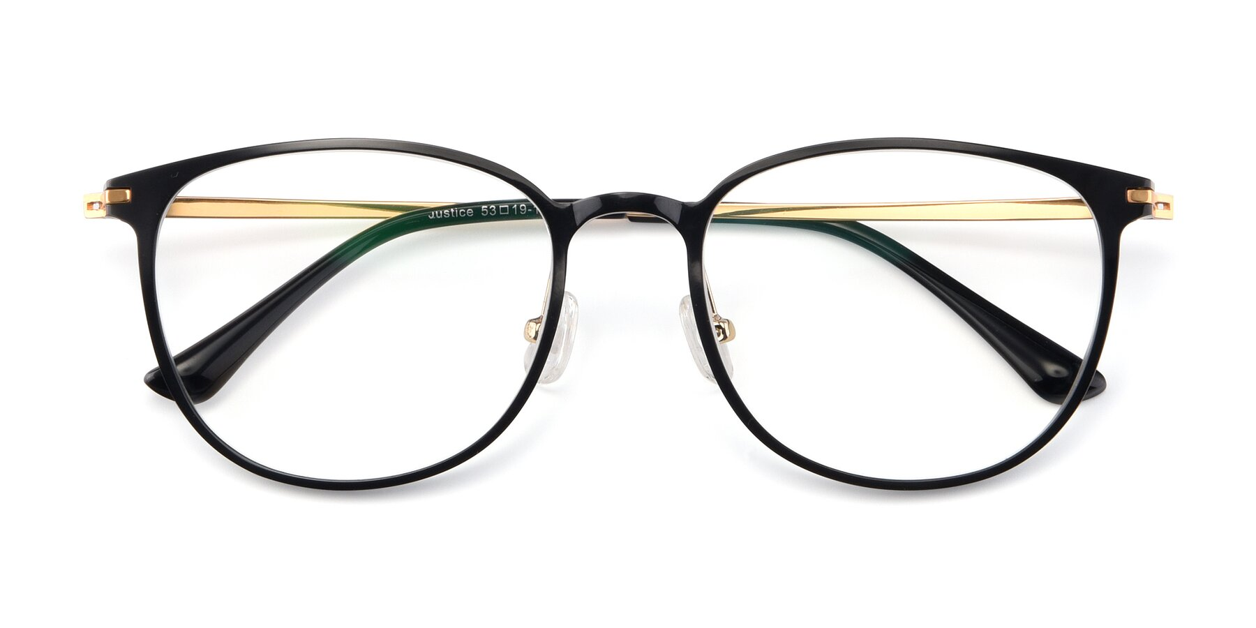 Folded Front of Justice in Black with Clear Eyeglass Lenses