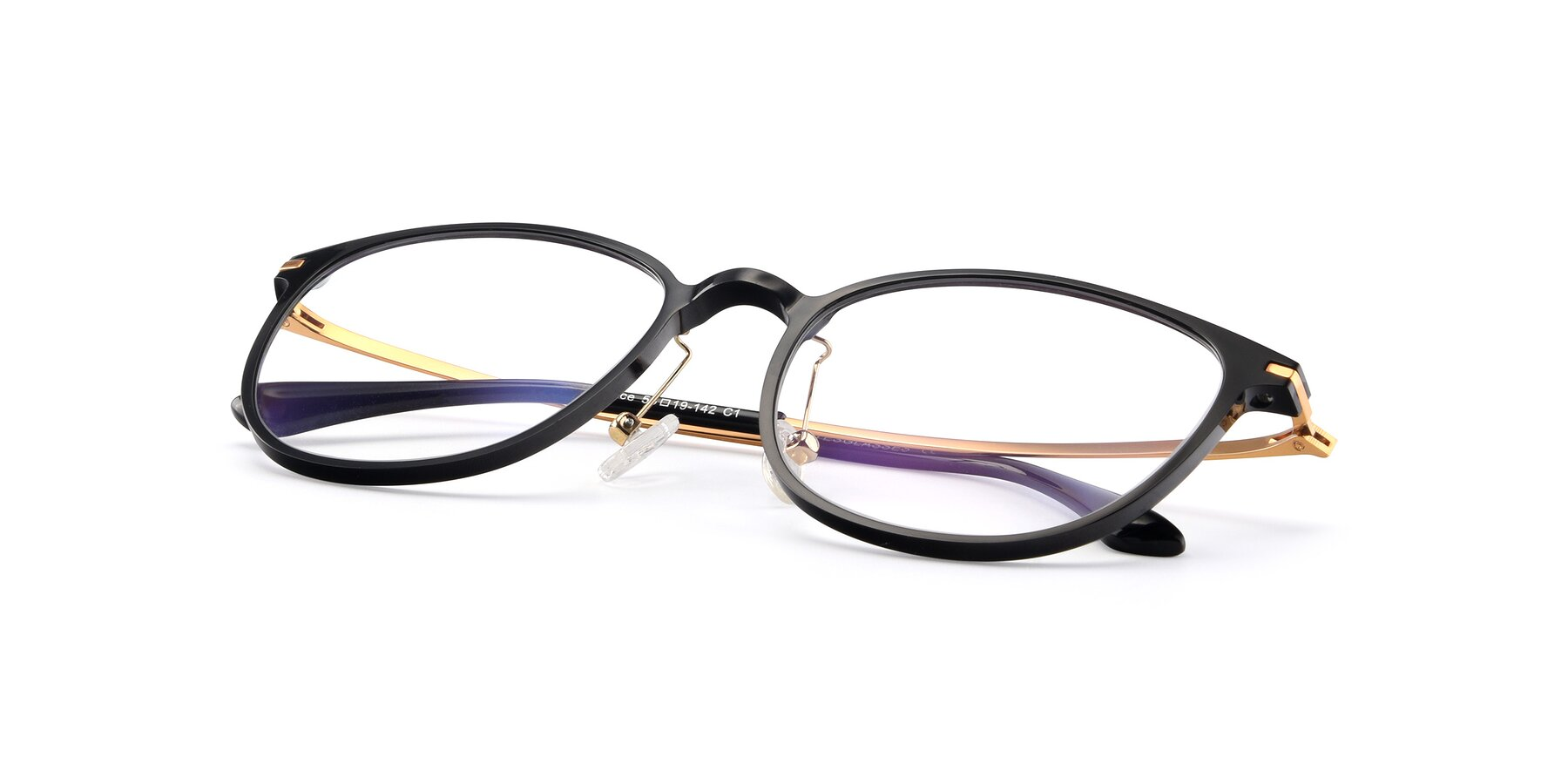View of Justice in Black with Clear Eyeglass Lenses