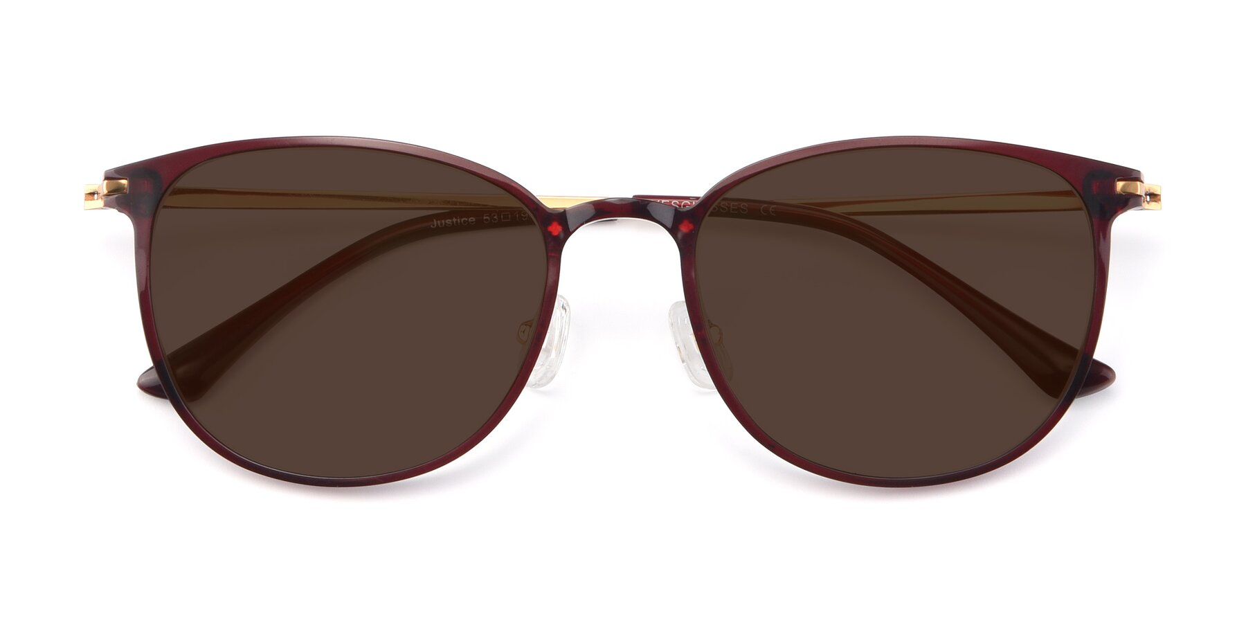 Folded Front of Justice in Wine with Brown Tinted Lenses