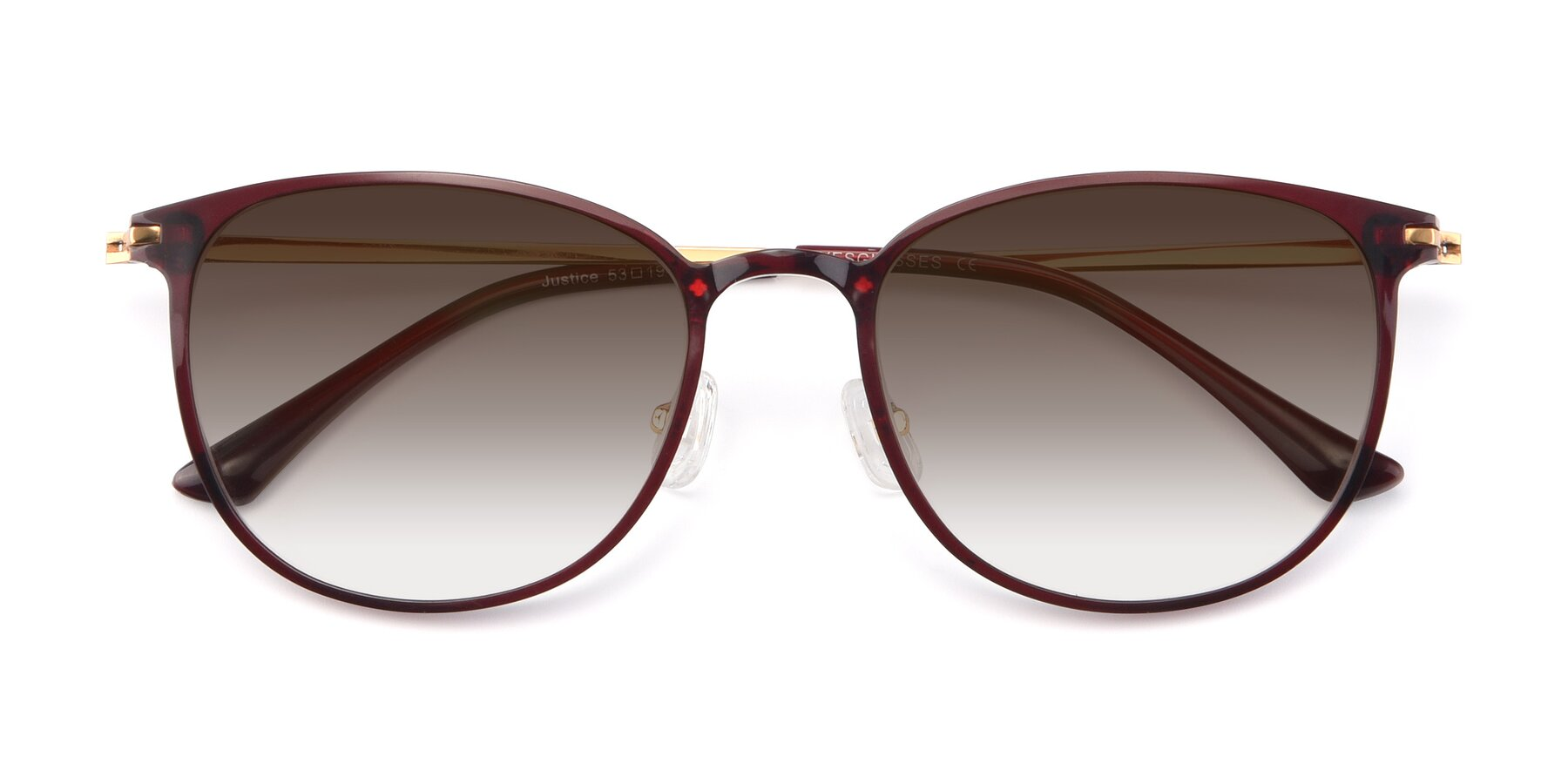 Folded Front of Justice in Wine with Brown Gradient Lenses