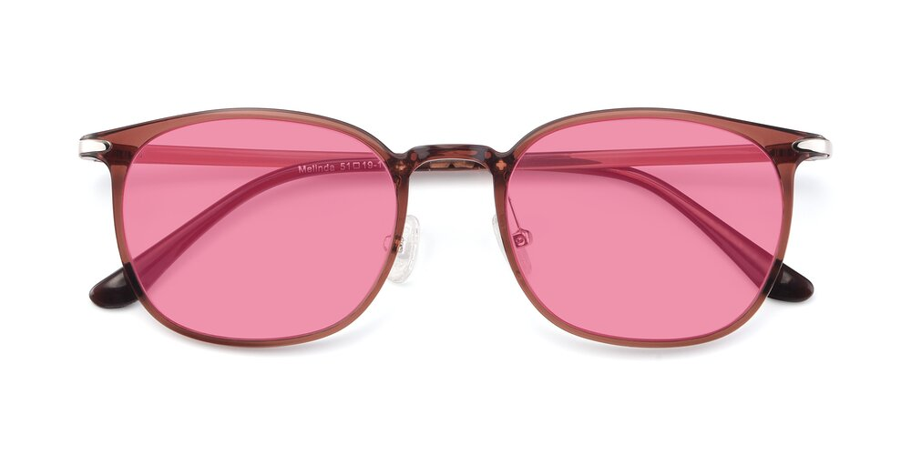 Brown Hipster Lightweight Ultem Tinted Sunglasses With Pink Sunwear Lenses