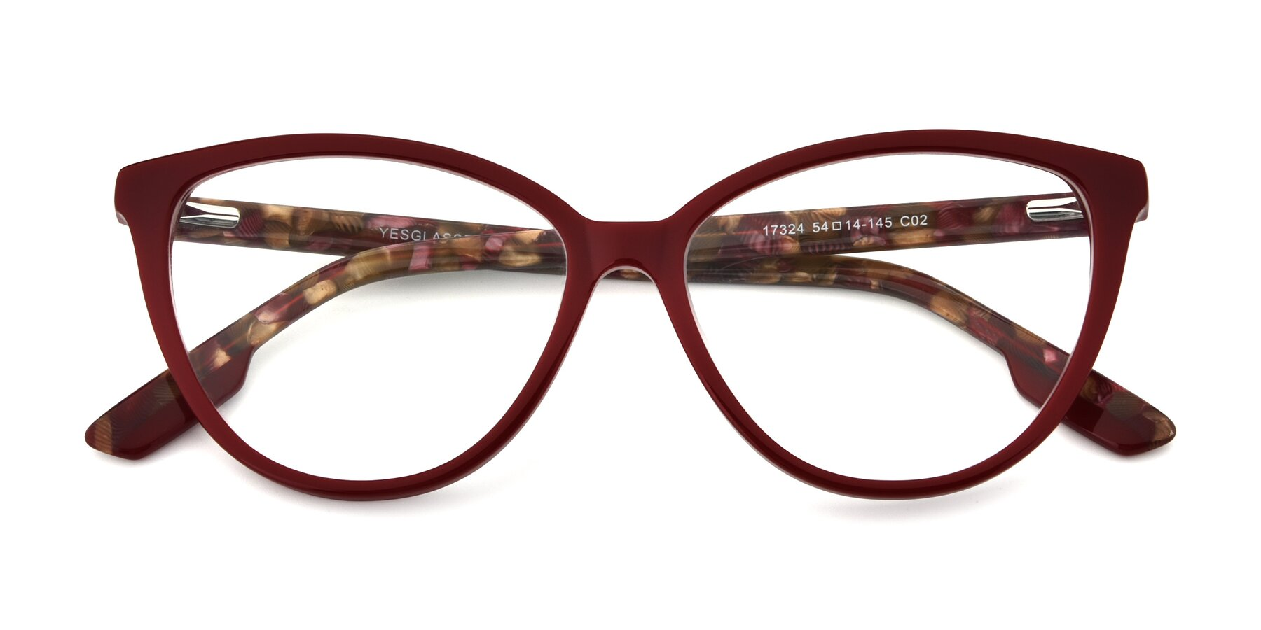 Folded Front of 17324 in Wine with Clear Eyeglass Lenses