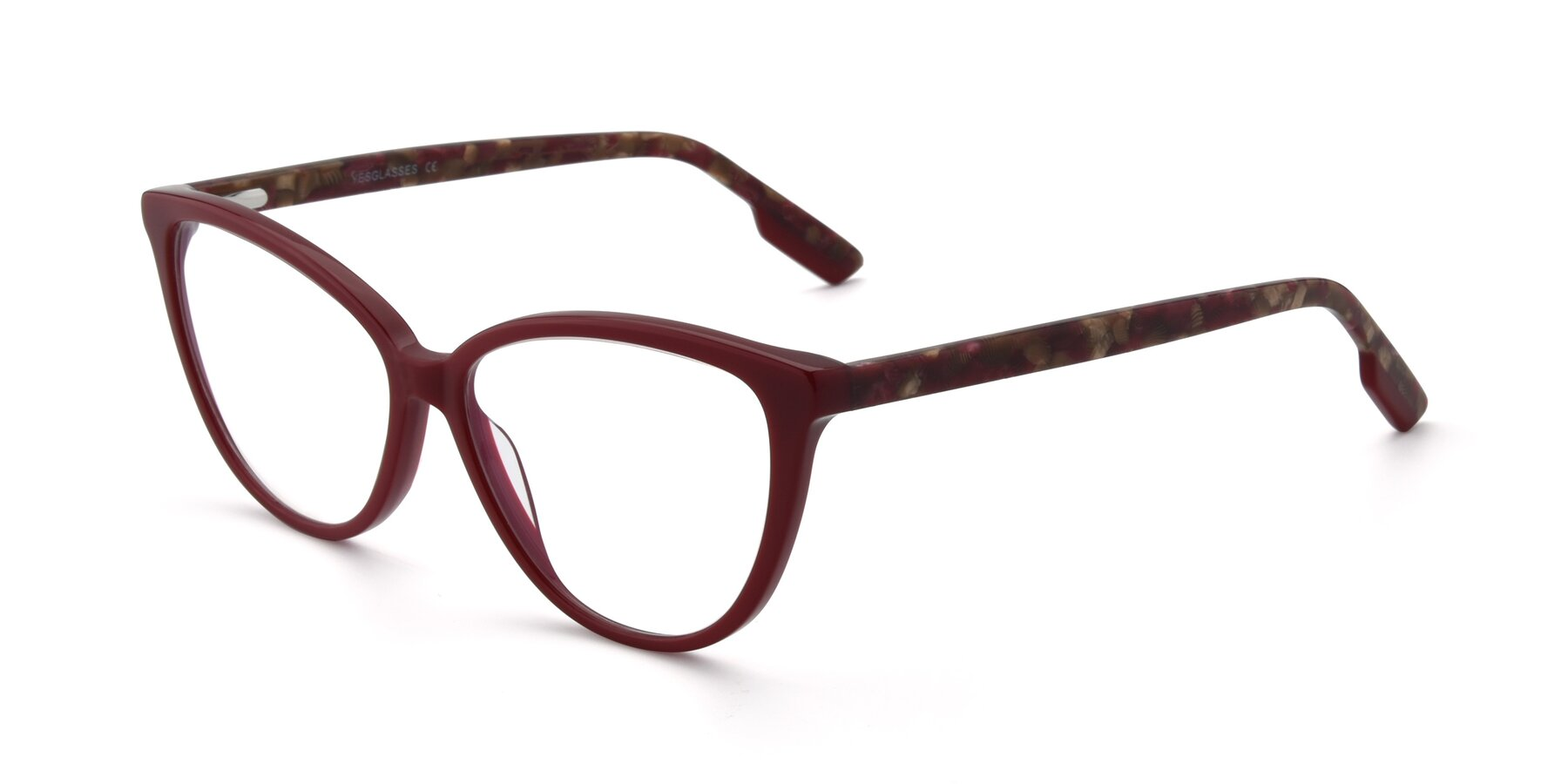 Angle of 17324 in Wine with Clear Eyeglass Lenses