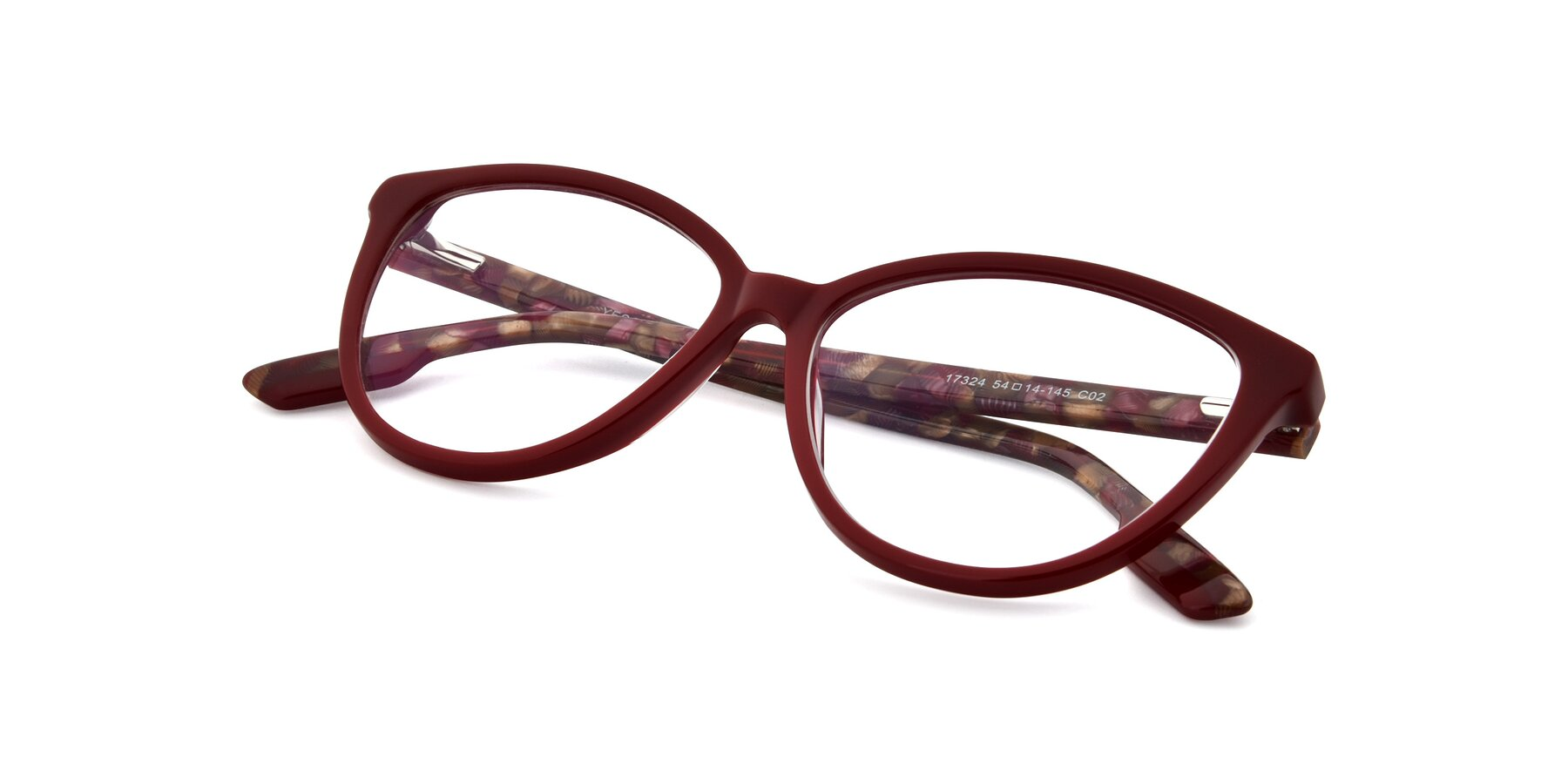 View of 17324 in Wine with Clear Eyeglass Lenses