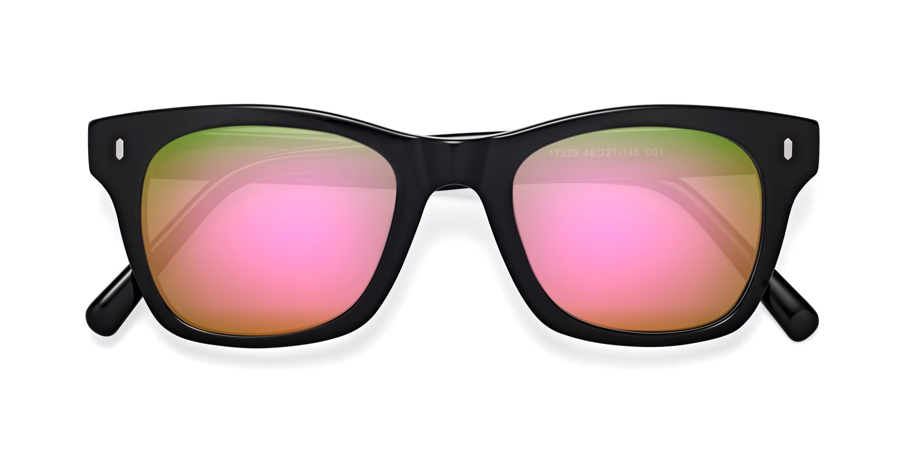 Folded Front of 17329 in Black with Pink Mirrored Lenses
