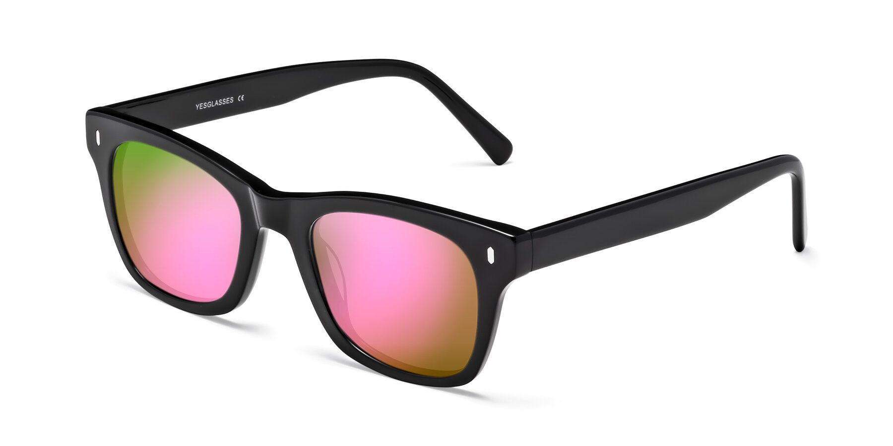Angle of 17329 in Black with Pink Mirrored Lenses