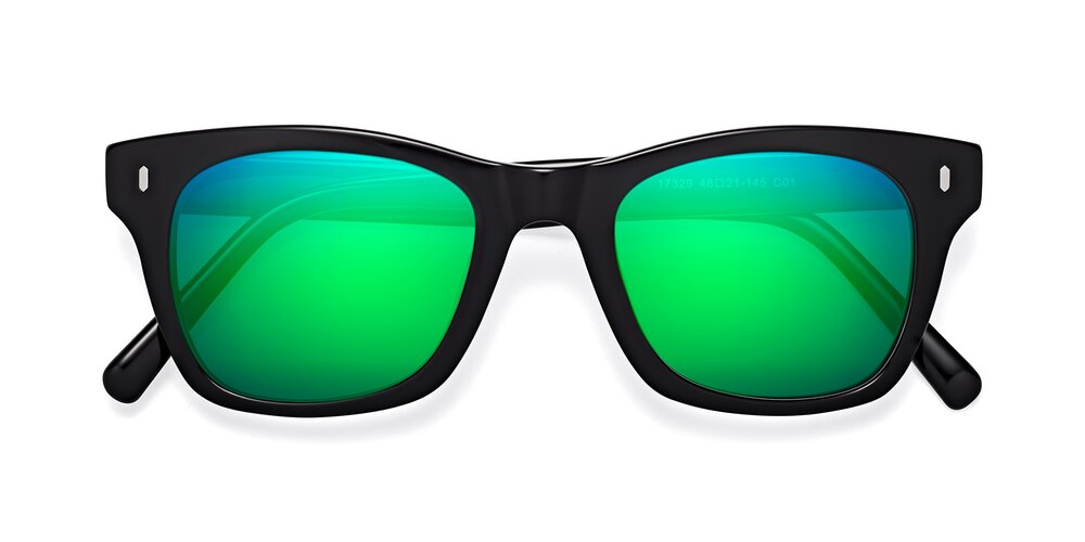 Black Geek-Chic Horn-Rimmed Square Mirrored Sunglasses With Green Sunwear Lenses