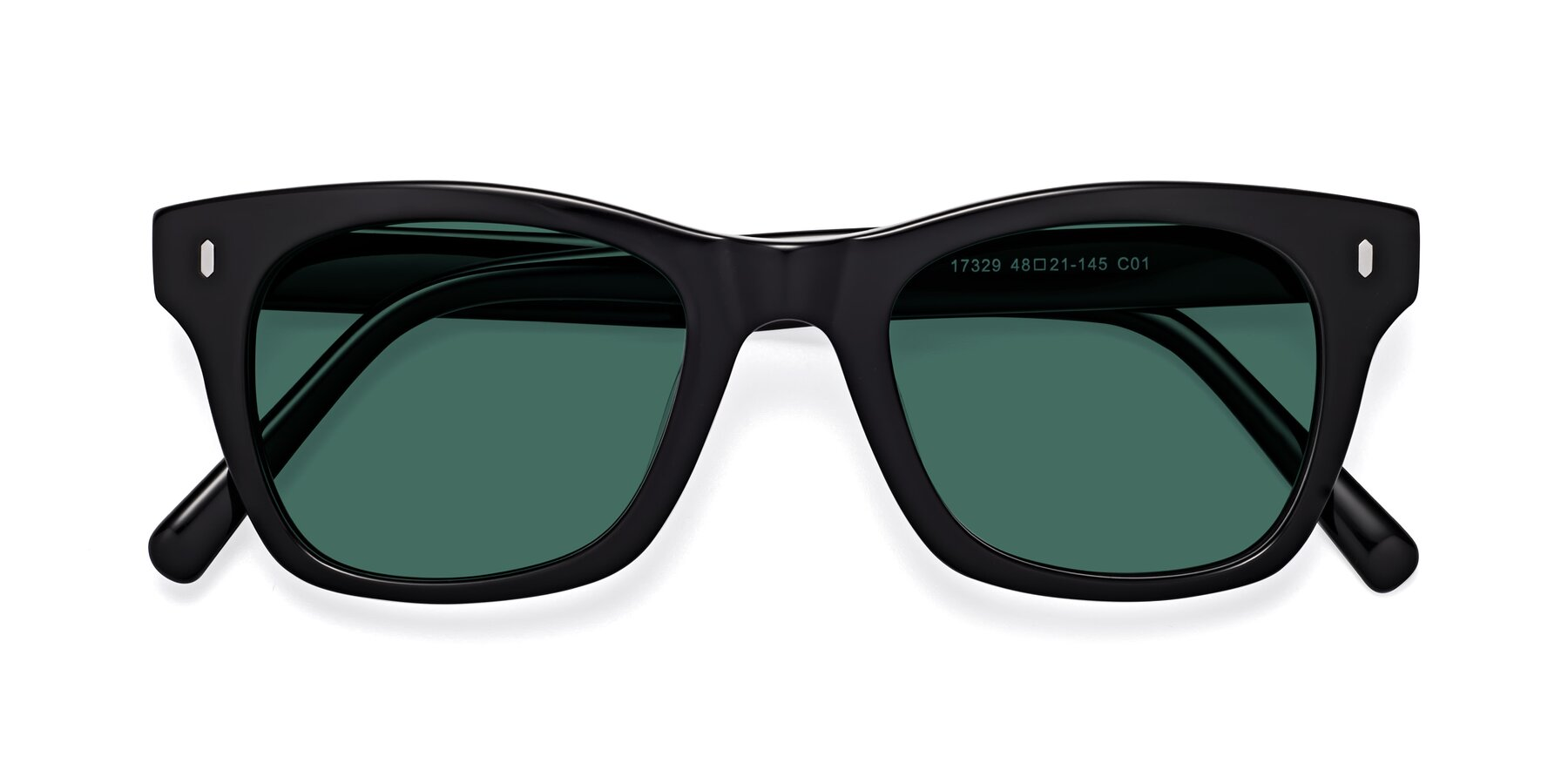 Folded Front of 17329 in Black with Green Polarized Lenses