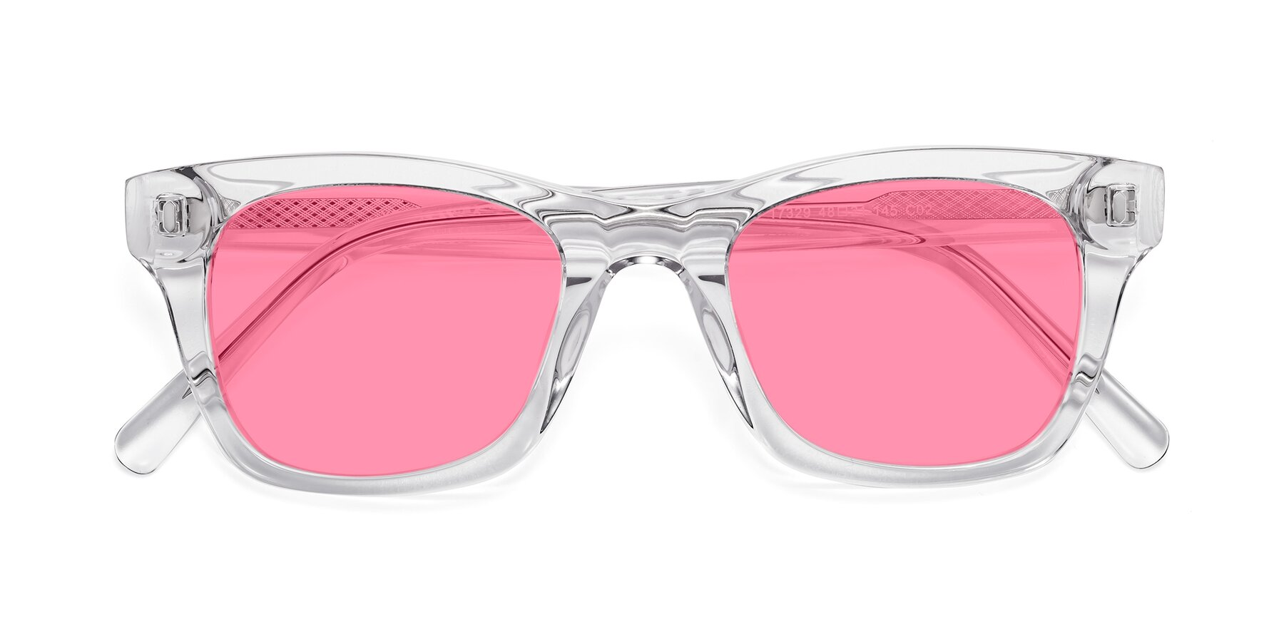Folded Front of 17329 in Clear with Pink Tinted Lenses