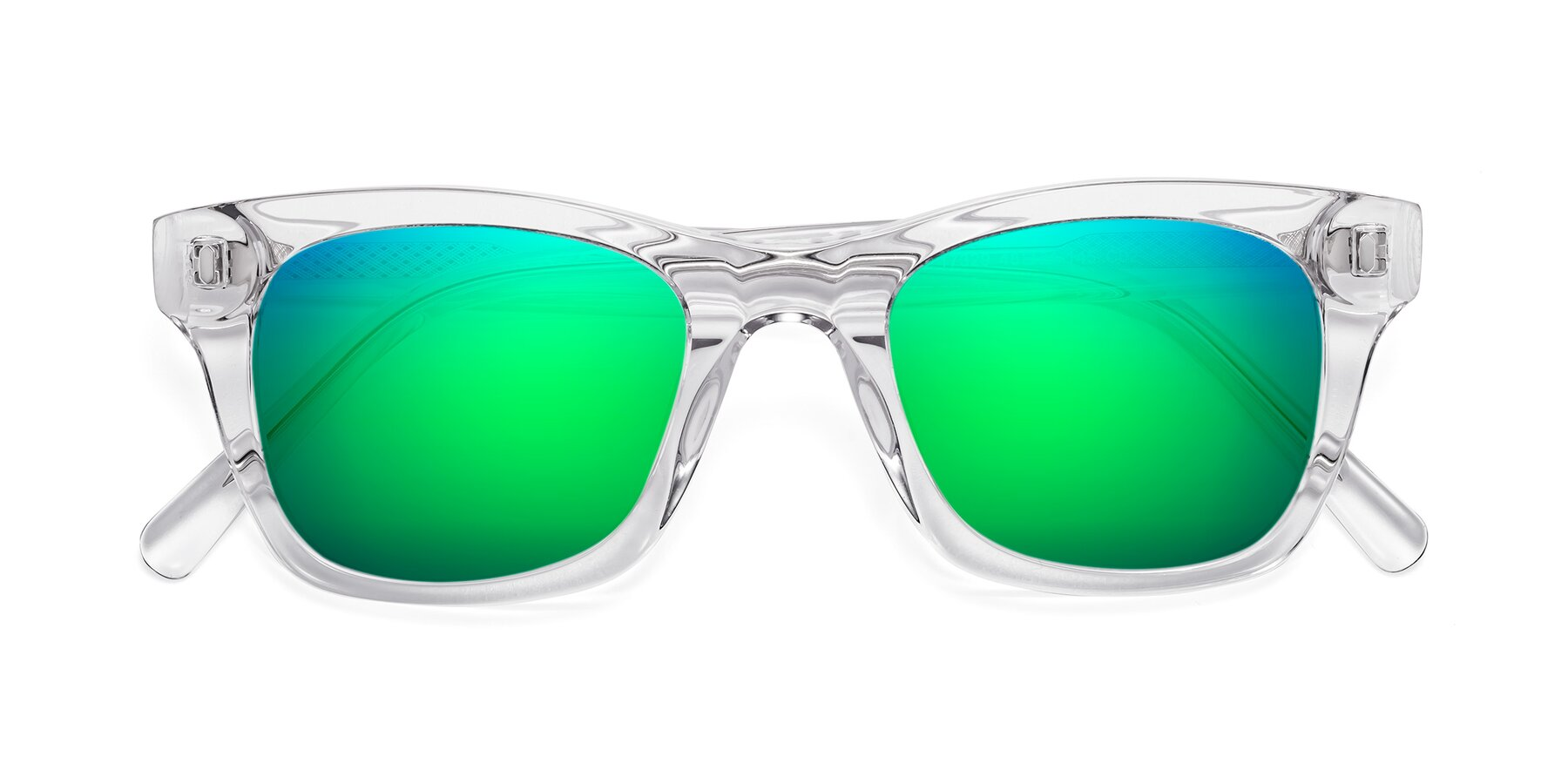 Folded Front of 17329 in Clear with Green Mirrored Lenses