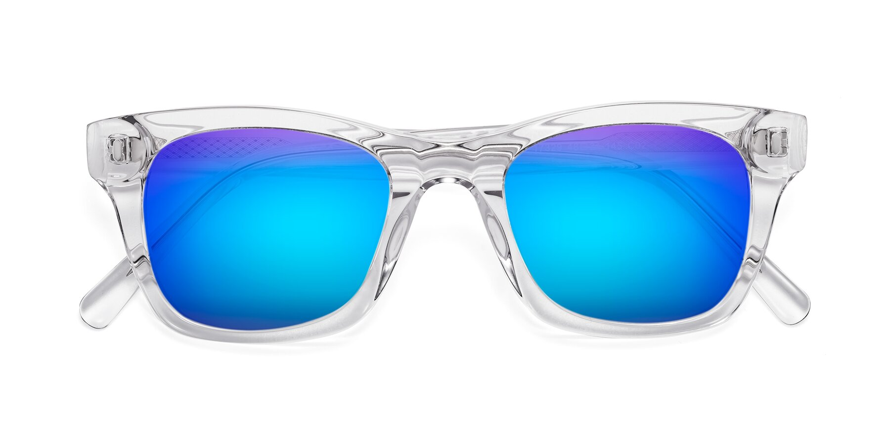 Folded Front of 17329 in Clear with Blue Mirrored Lenses