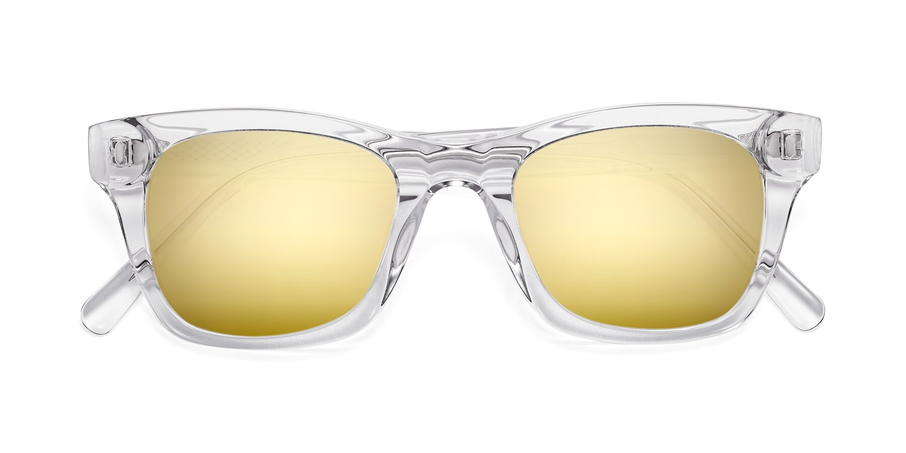 Folded Front of 17329 in Clear with Gold Mirrored Lenses