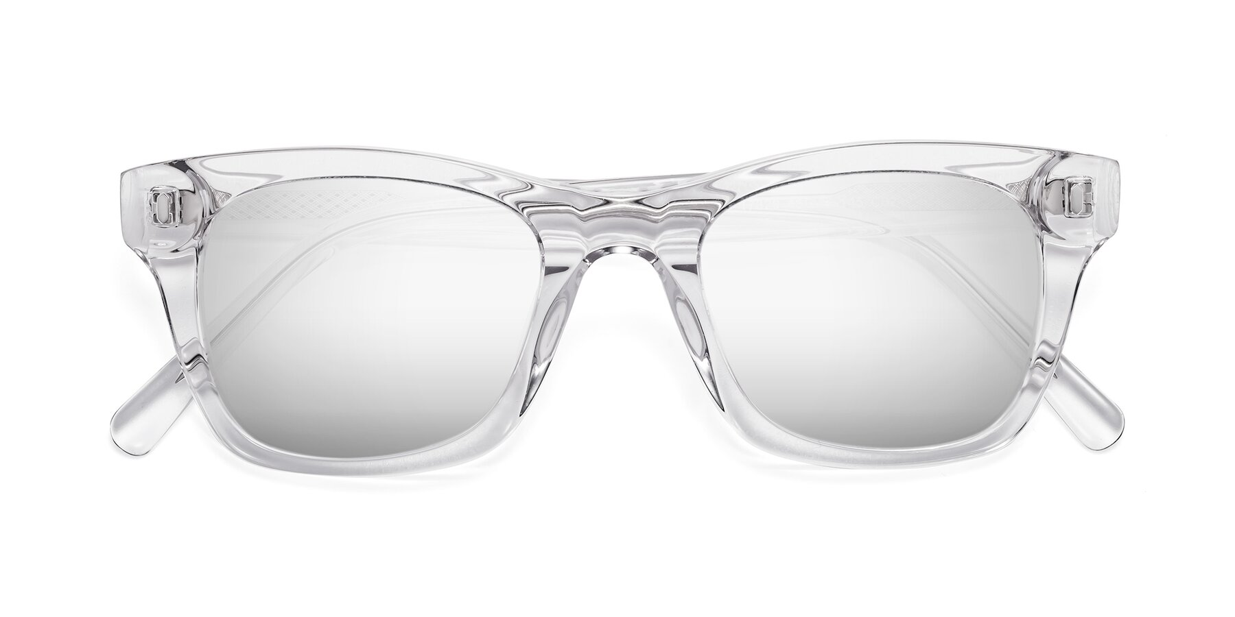 Folded Front of 17329 in Clear with Silver Mirrored Lenses