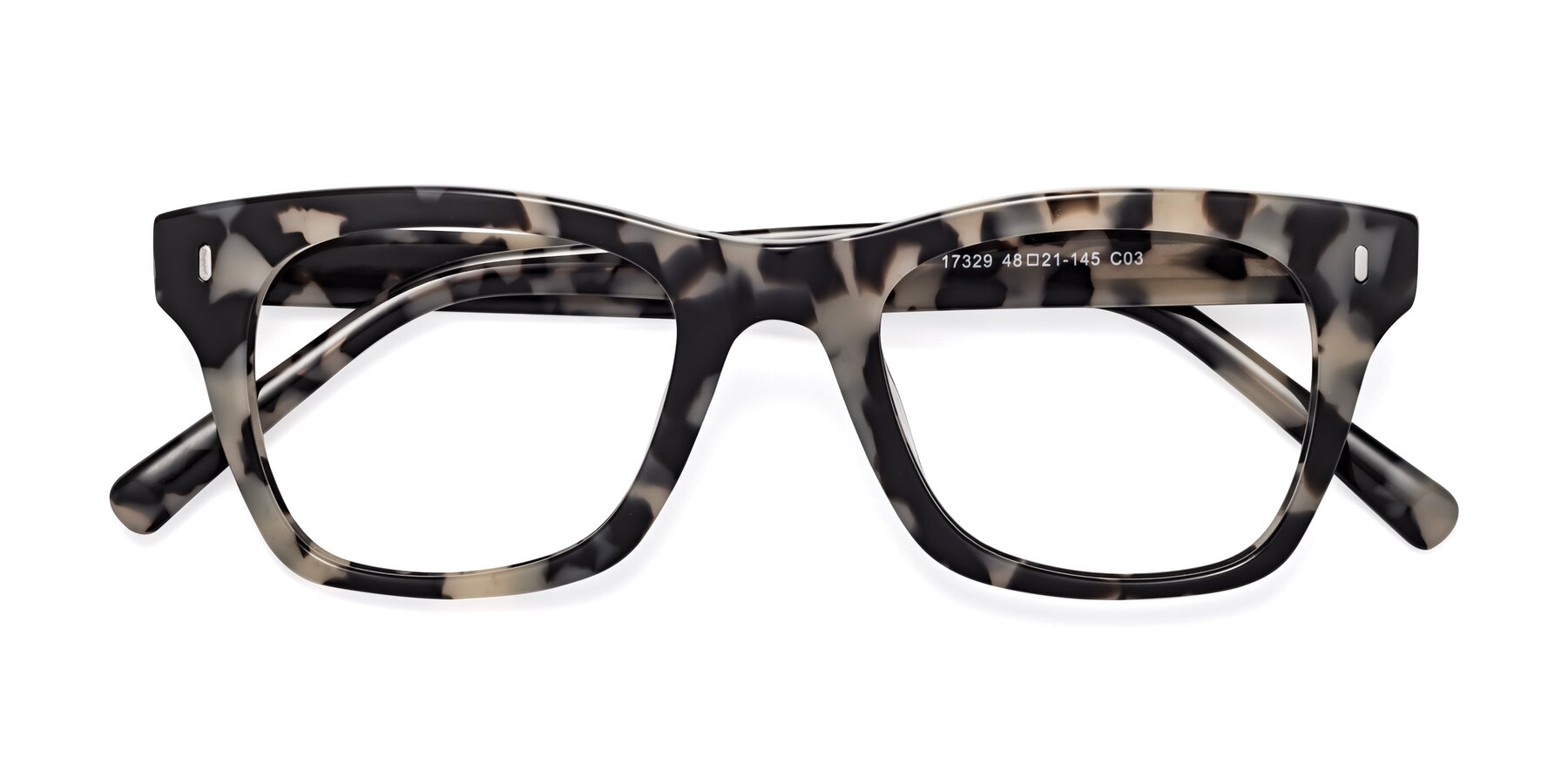 Folded Front of 17329 in Havana with Clear Eyeglass Lenses
