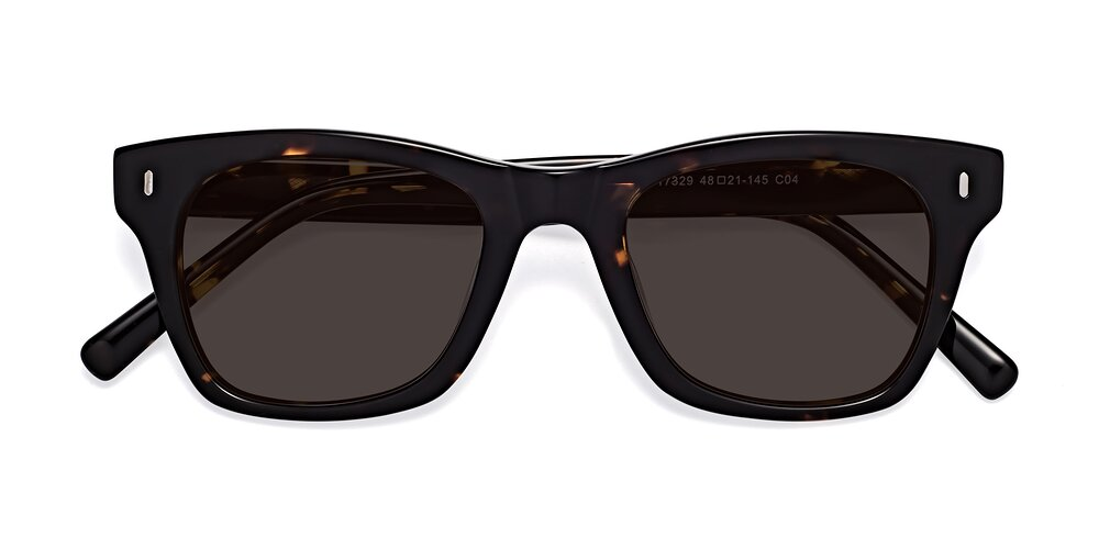 Tortoise Brown Geek-Chic Horn-Rimmed Square Tinted Sunglasses With Gray Sunwear Lenses