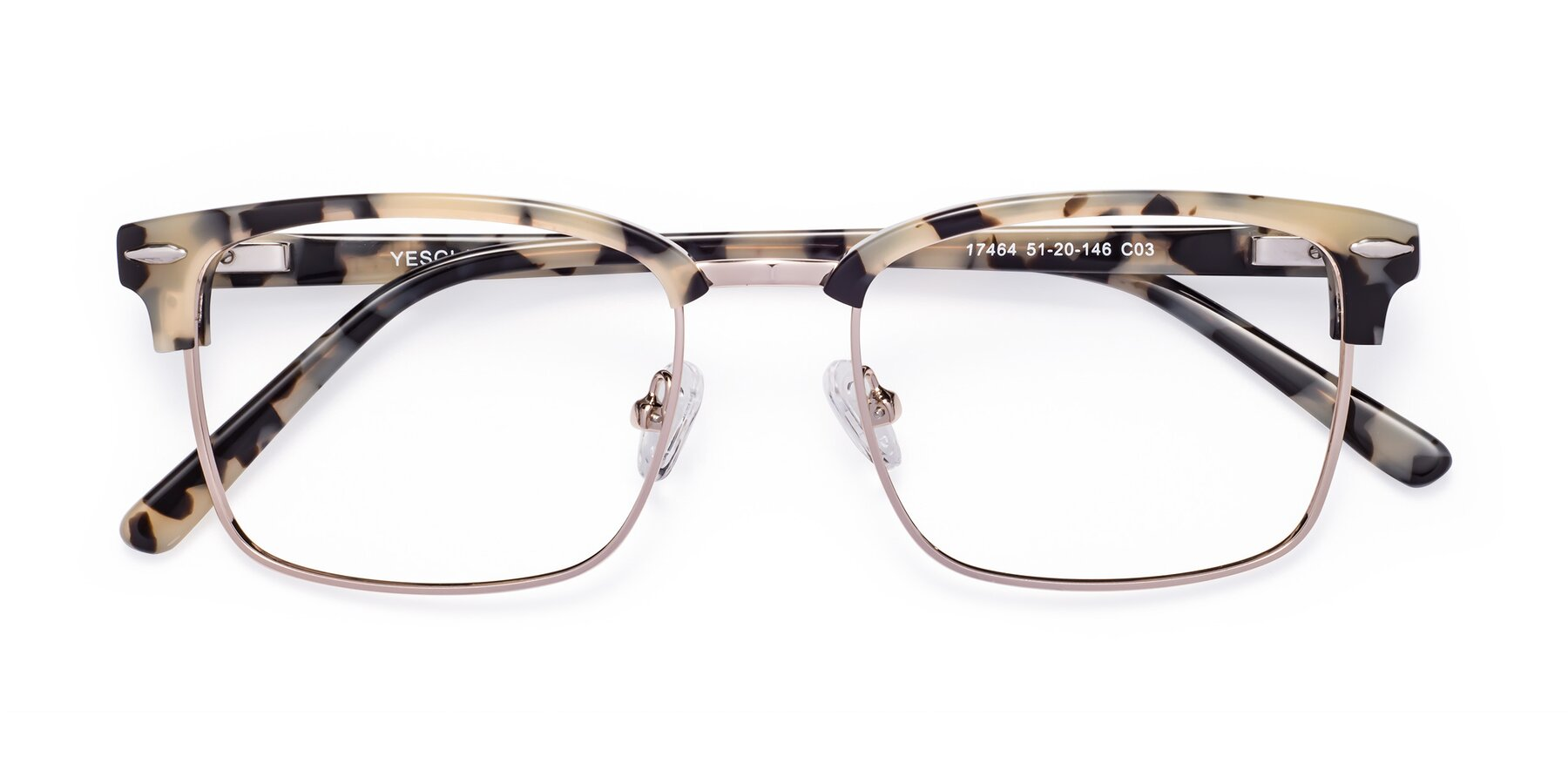 Folded Front of 17464 in Tortoise-Gold with Clear Blue Light Blocking Lenses