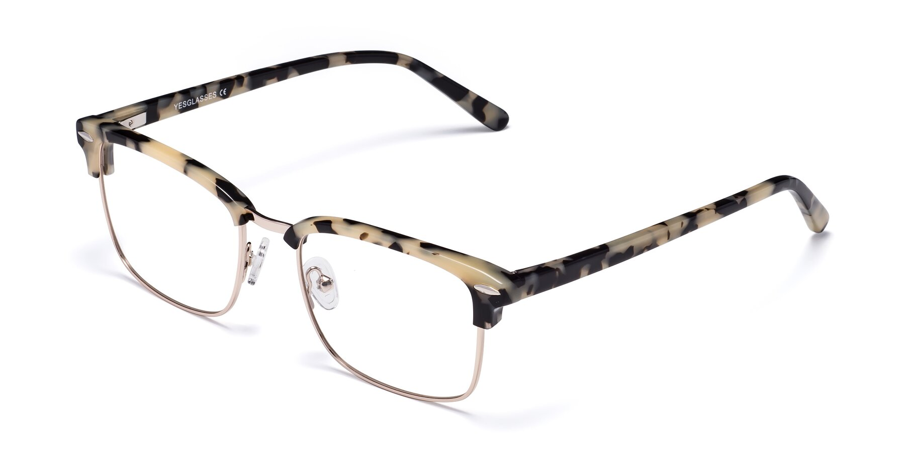 Angle of 17464 in Tortoise-Gold with Clear Blue Light Blocking Lenses