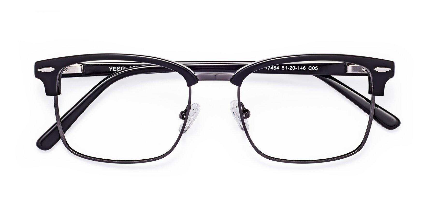 Folded Front of 17464 in Black-Gunmetal with Clear Blue Light Blocking Lenses