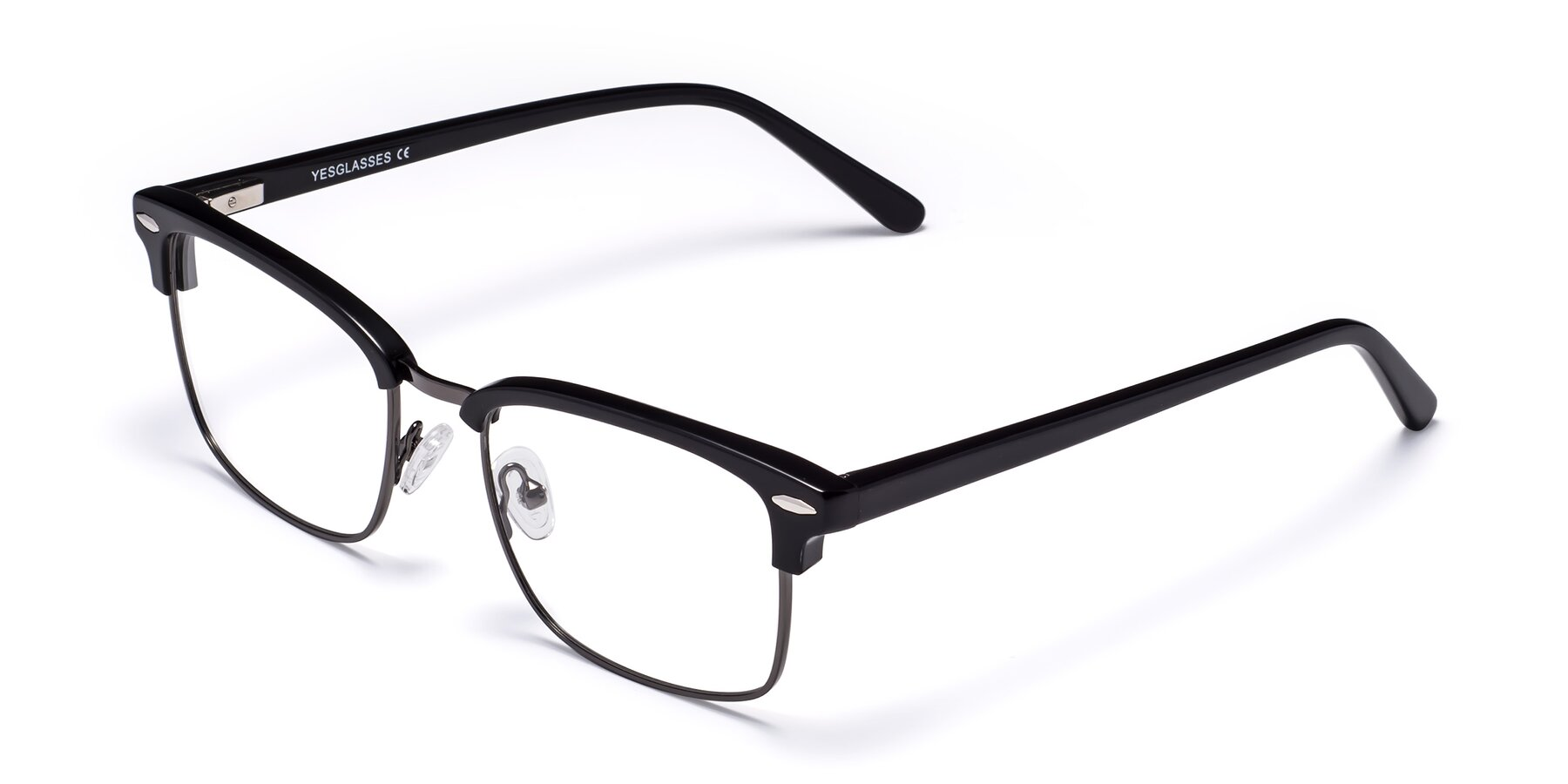 Angle of 17464 in Black-Gunmetal with Clear Blue Light Blocking Lenses