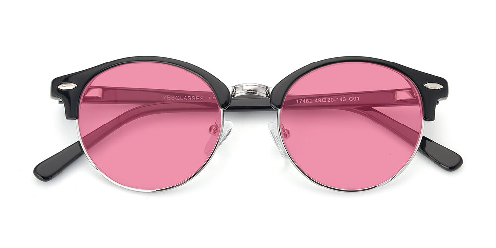 Black-Silver Browline Acetate Round Tinted Sunglasses With Pink Sunwear Lenses