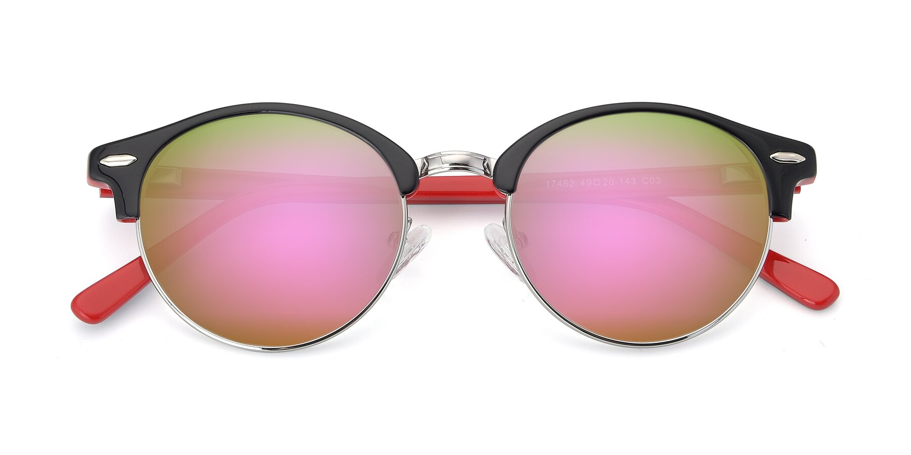 Folded Front of 17462 in Black-Wine with Pink Mirrored Lenses