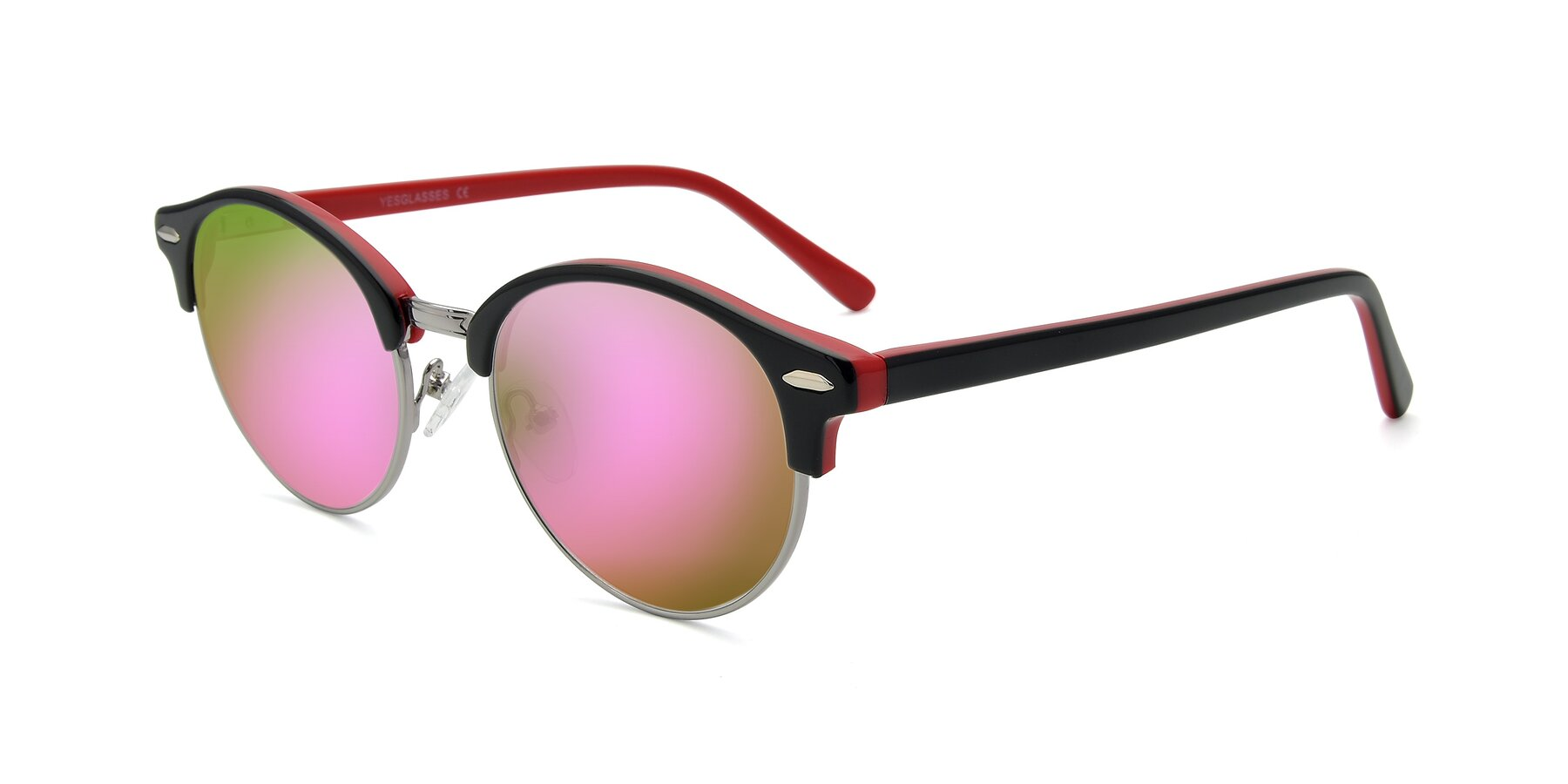 Angle of 17462 in Black-Wine with Pink Mirrored Lenses