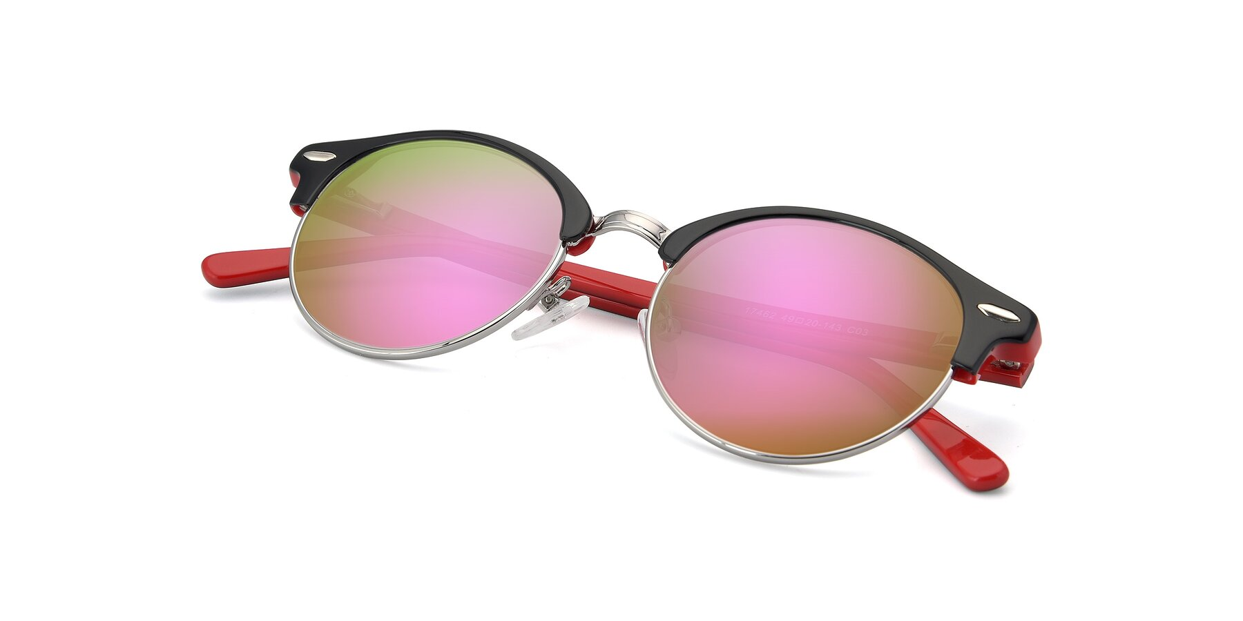 View of 17462 in Black-Wine with Pink Mirrored Lenses