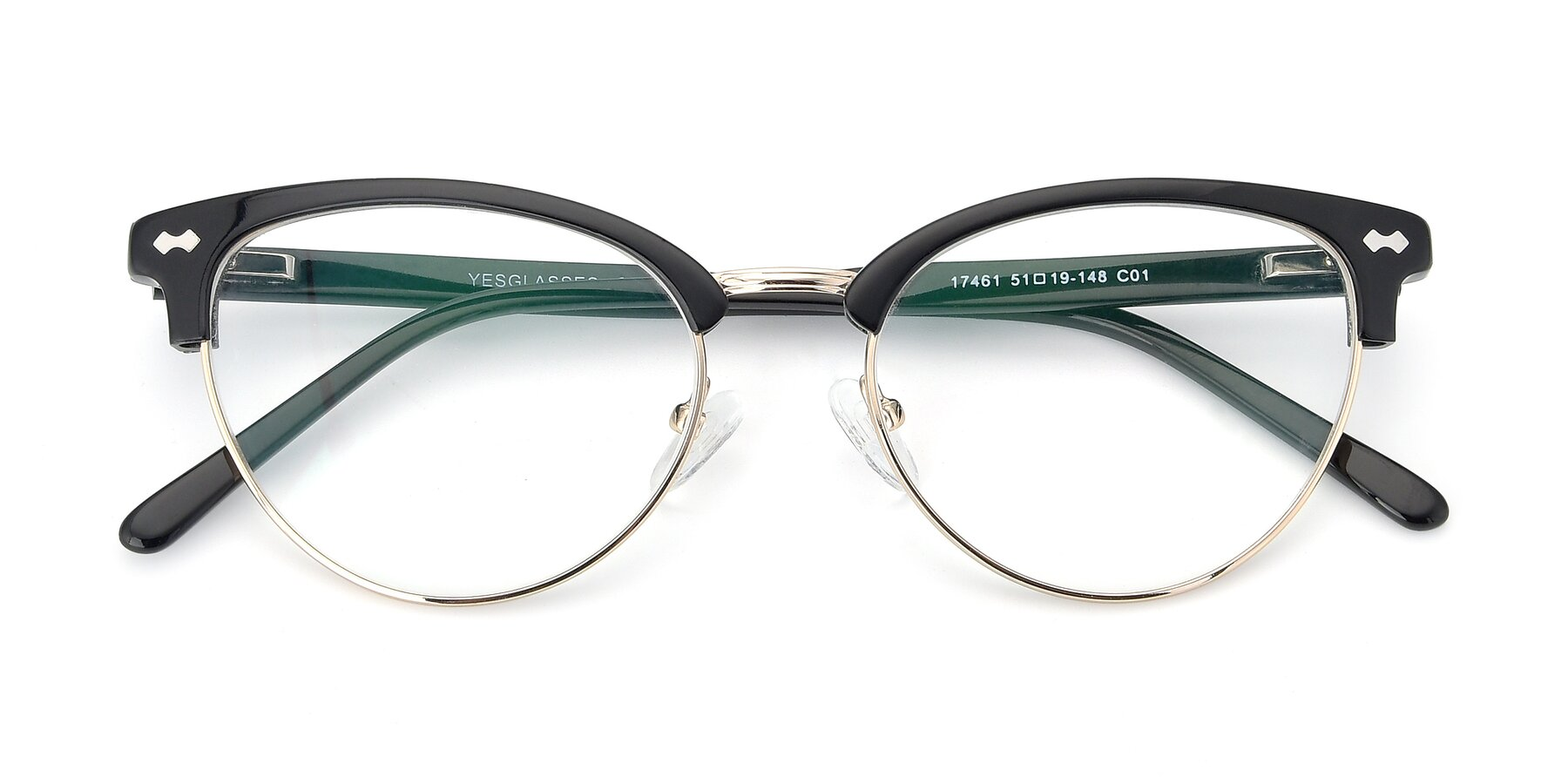 Folded Front of 17461 in Black-Gold with Clear Eyeglass Lenses
