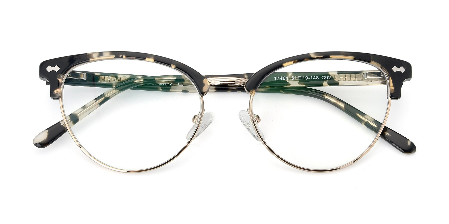 Folded Front of 17461 in Tortoise-Gold with Clear Eyeglass Lenses