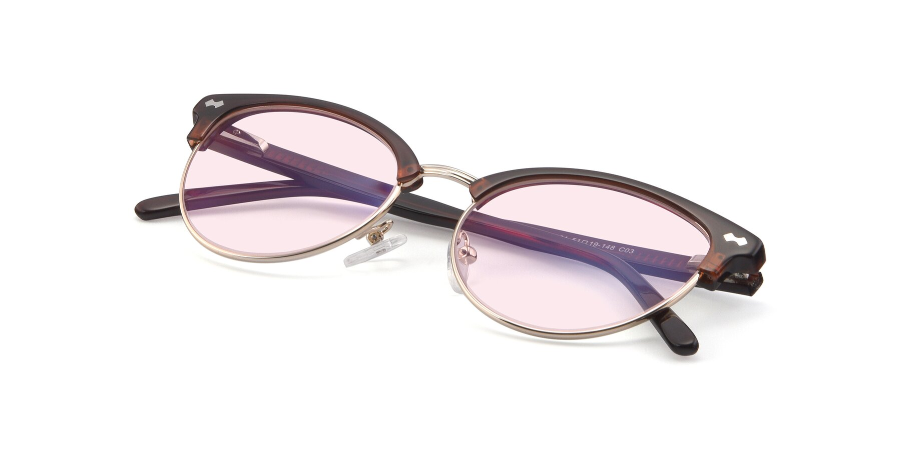 View of 17461 in Tortoise-Black with Light Pink Tinted Lenses