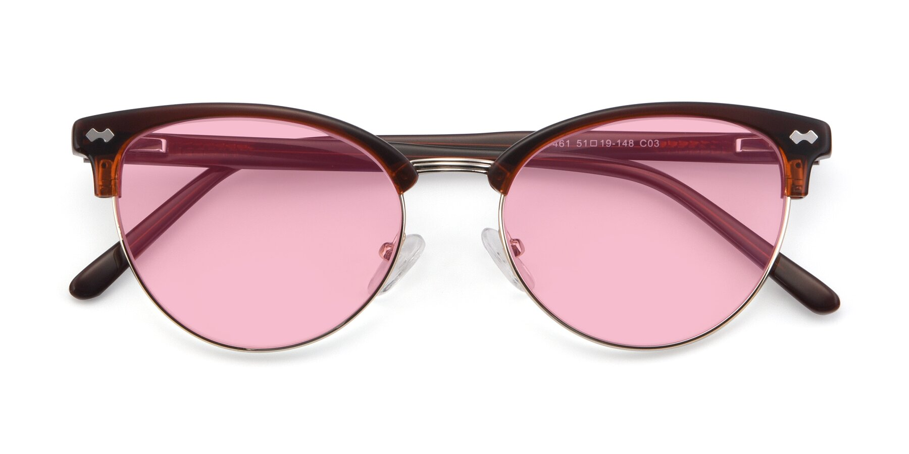 Folded Front of 17461 in Tortoise-Black with Medium Pink Tinted Lenses