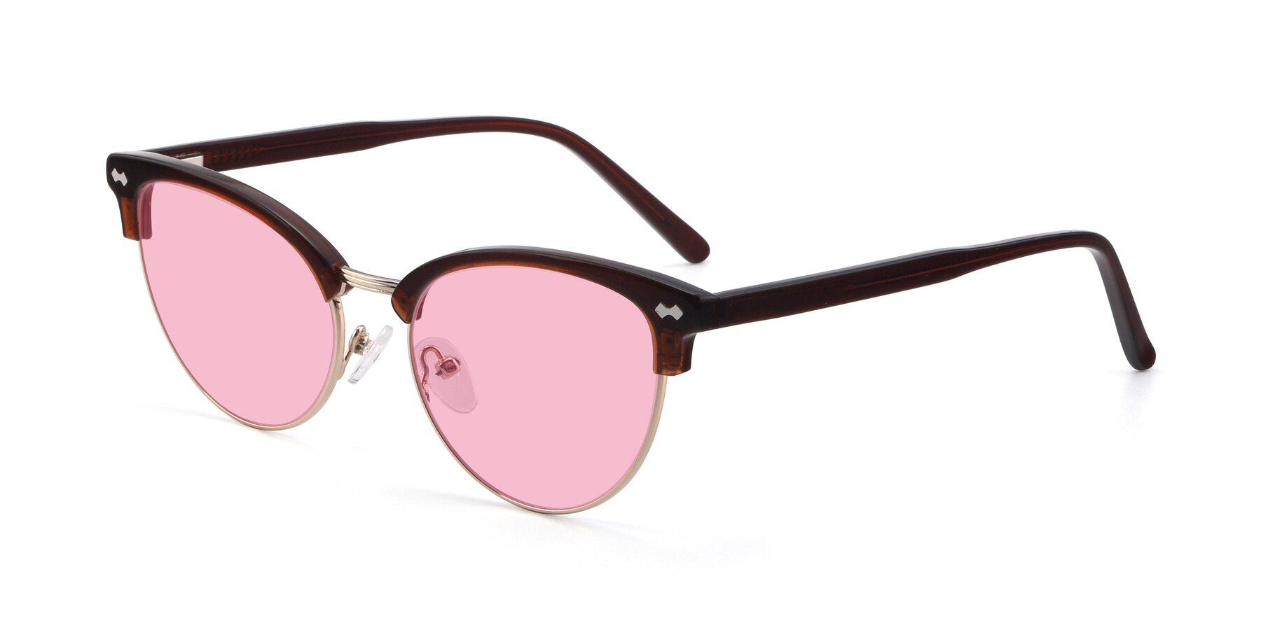 Angle of 17461 in Tortoise-Black with Medium Pink Tinted Lenses