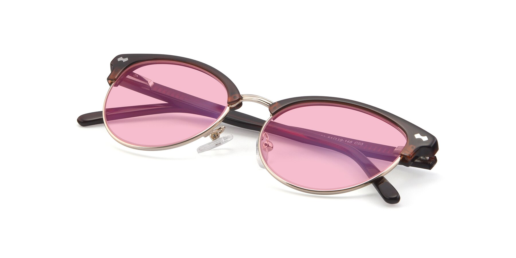 View of 17461 in Tortoise-Black with Medium Pink Tinted Lenses
