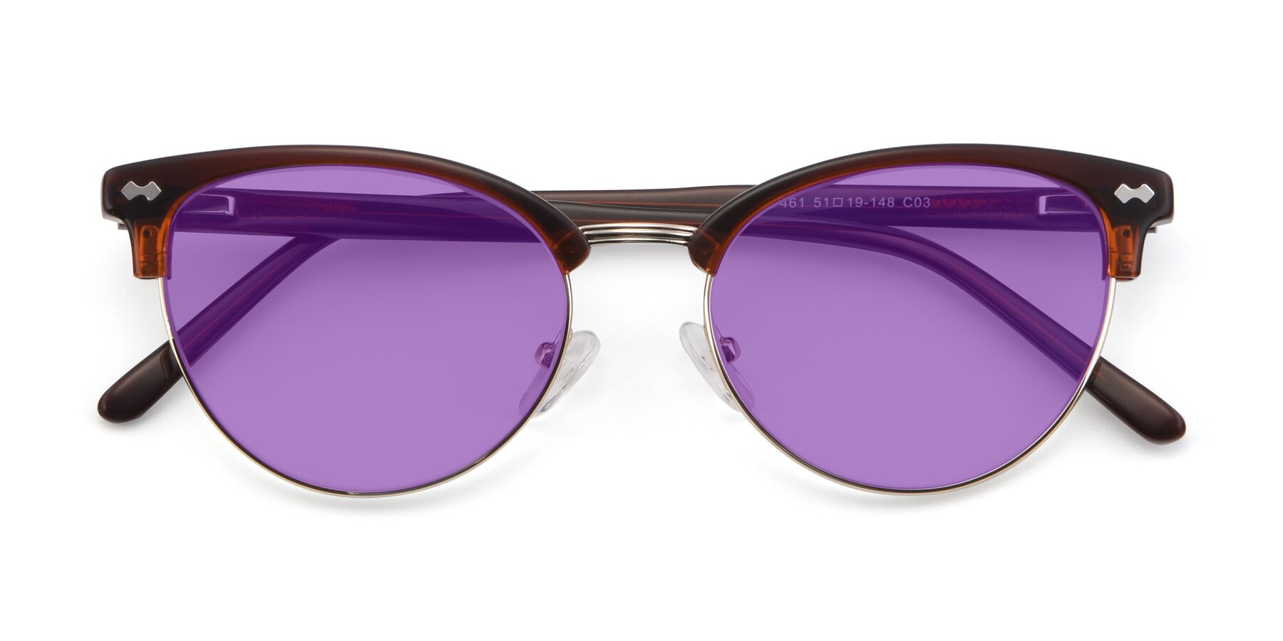 Folded Front of 17461 in Tortoise-Black with Medium Purple Tinted Lenses