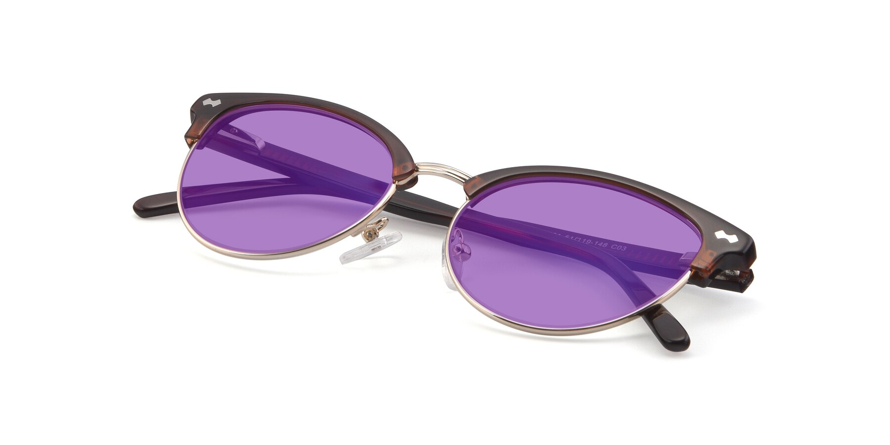 View of 17461 in Tortoise-Black with Medium Purple Tinted Lenses