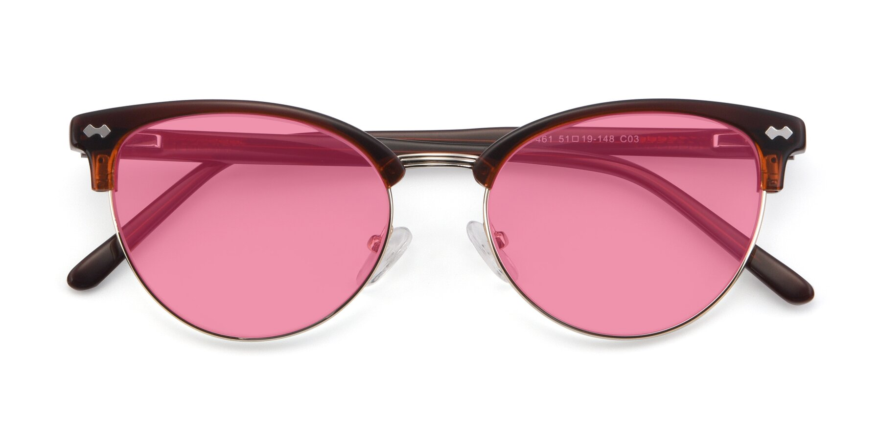 Folded Front of 17461 in Tortoise-Black with Pink Tinted Lenses