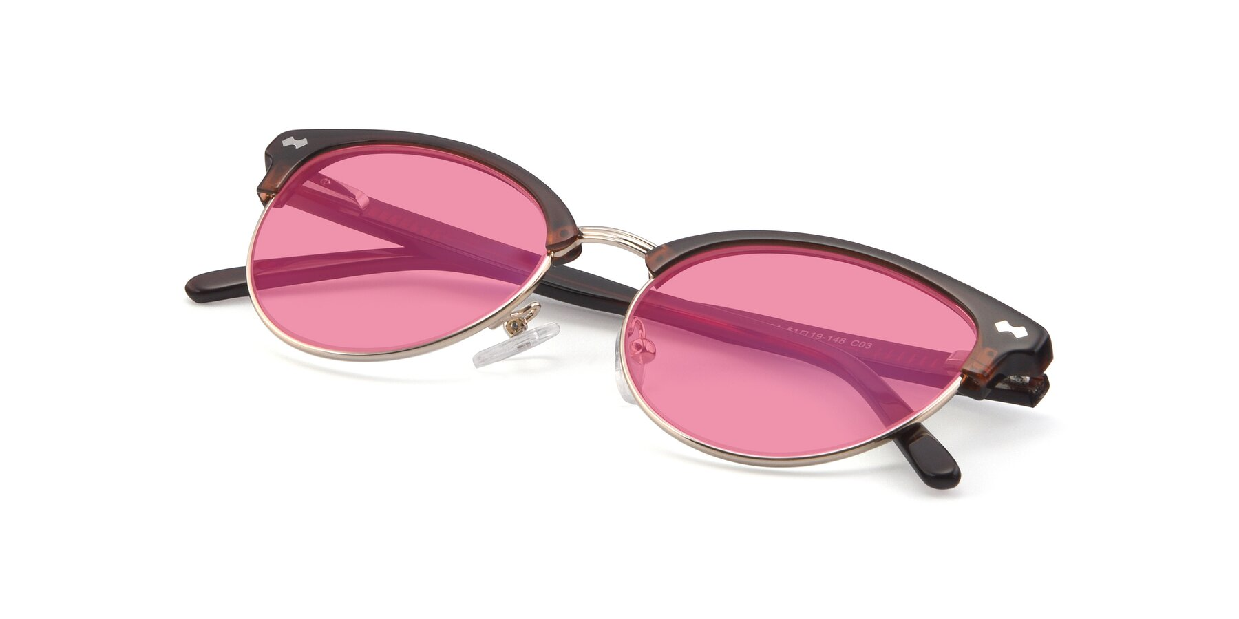View of 17461 in Tortoise-Black with Pink Tinted Lenses