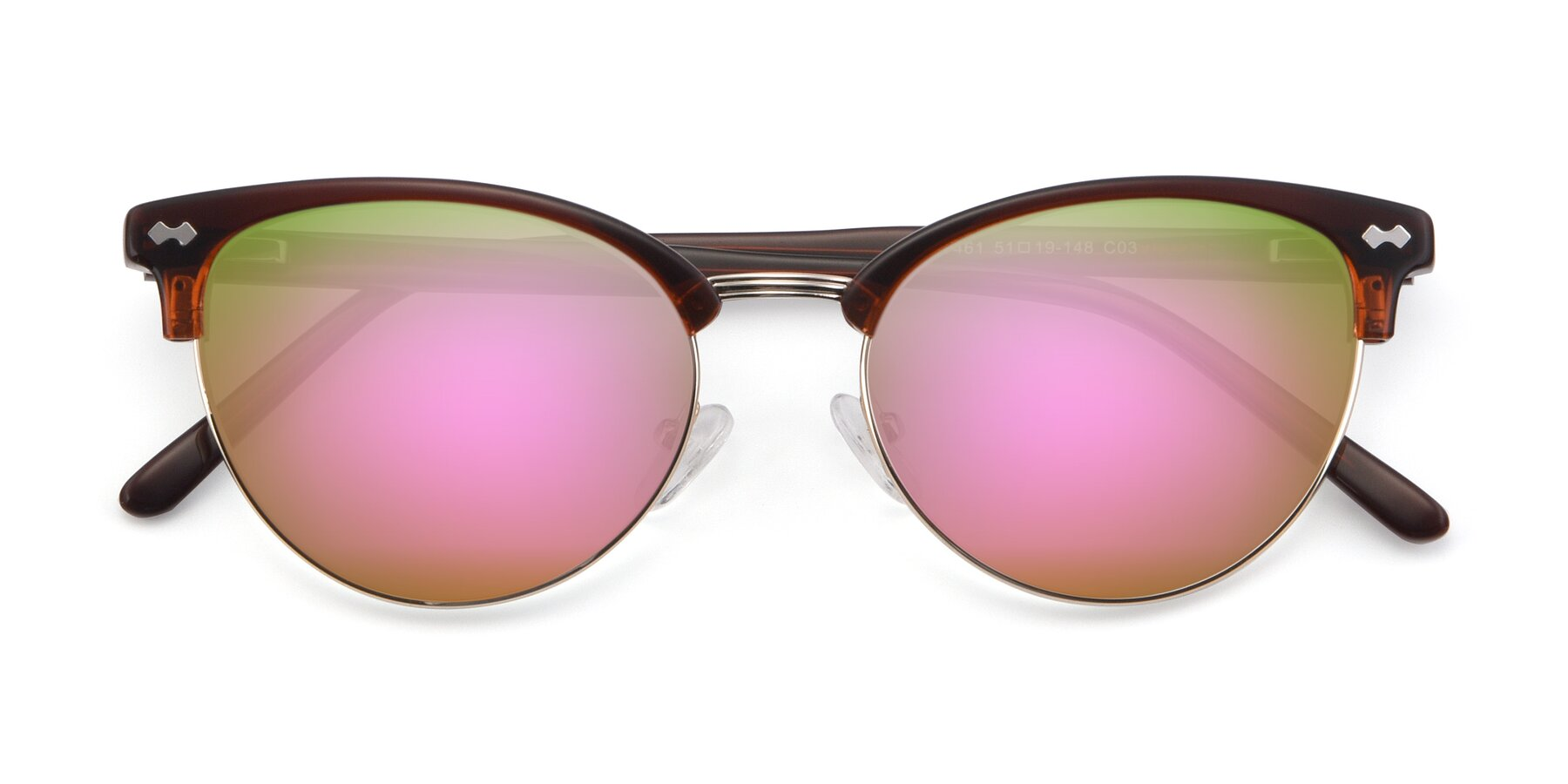 Folded Front of 17461 in Tortoise-Black with Pink Mirrored Lenses