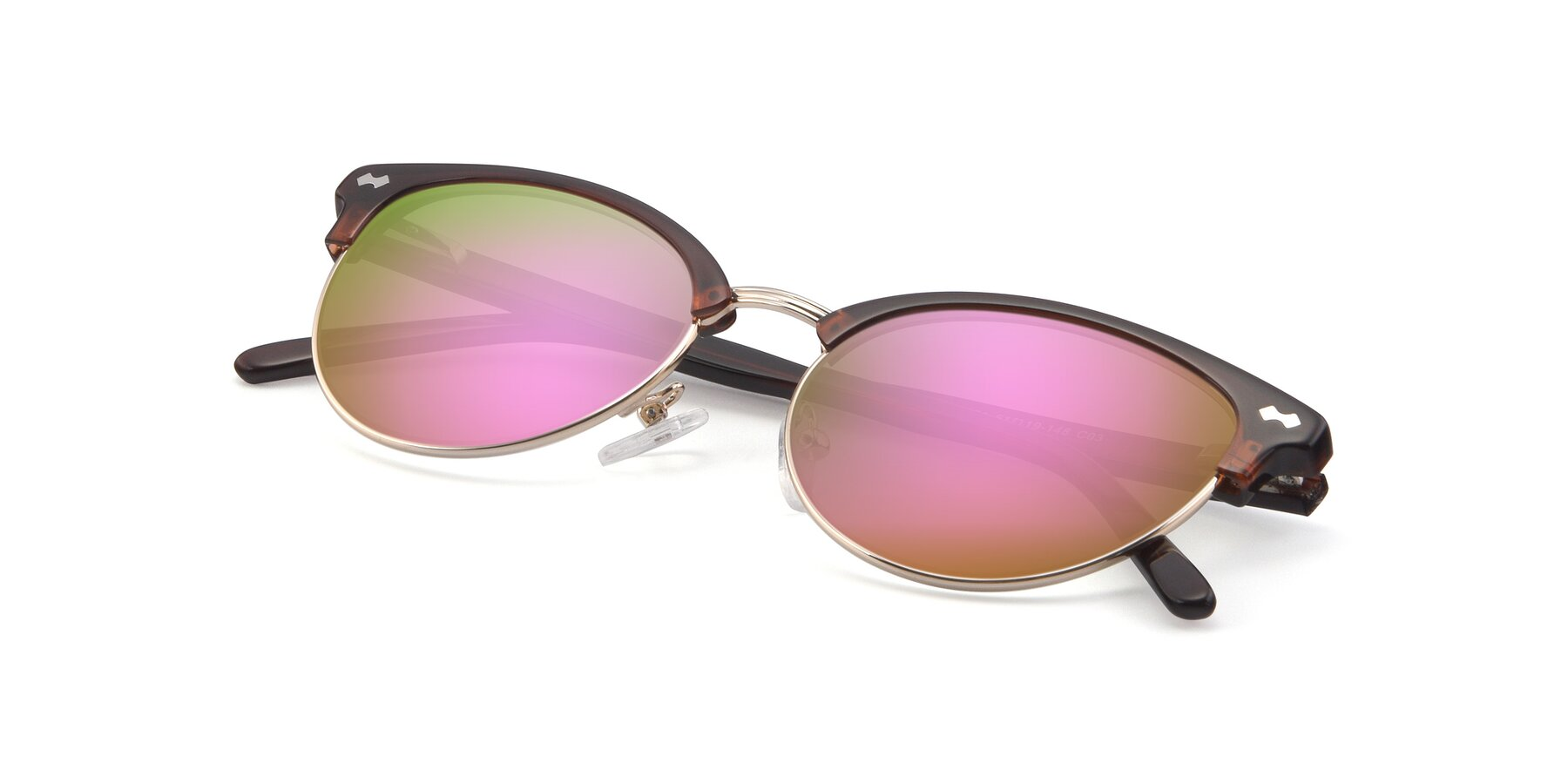 View of 17461 in Tortoise-Black with Pink Mirrored Lenses